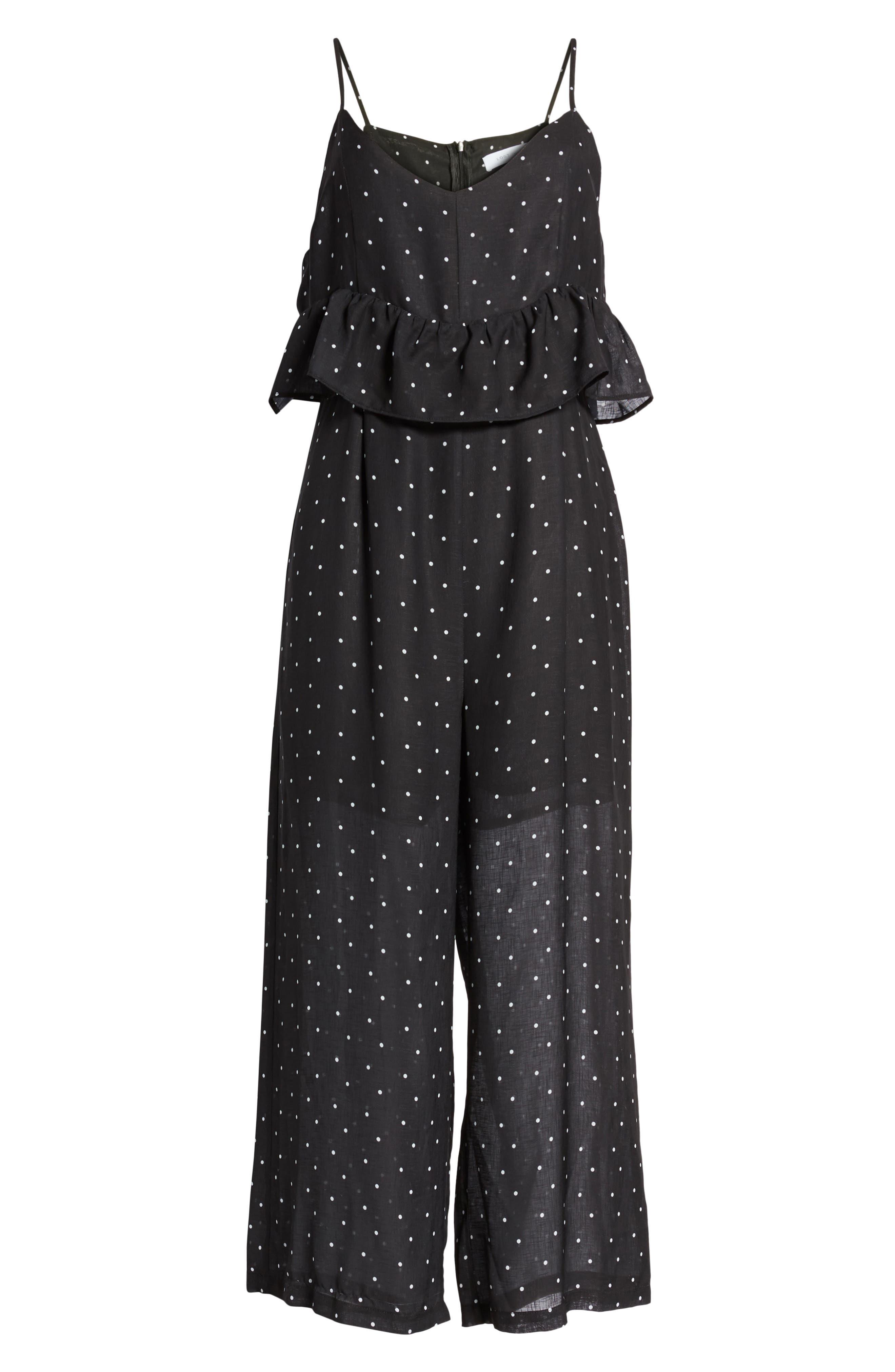 Polka Dot Frill Waist Jumpsuit,                             Alternate thumbnail 8, color,                             Black