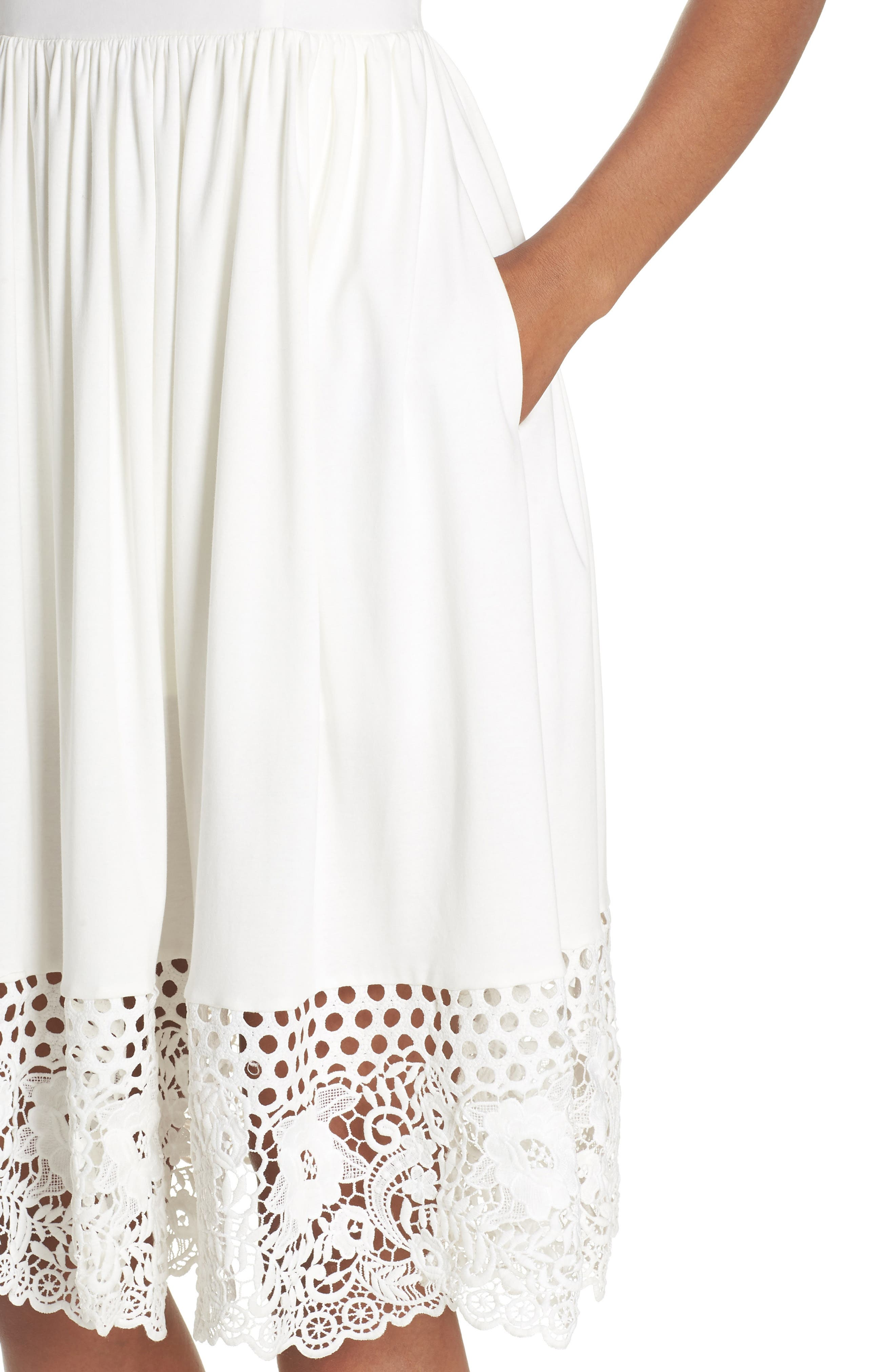 Salerno Lace Trim Jersey Dress,                             Alternate thumbnail 4, color,                             Summer White/ Summer White