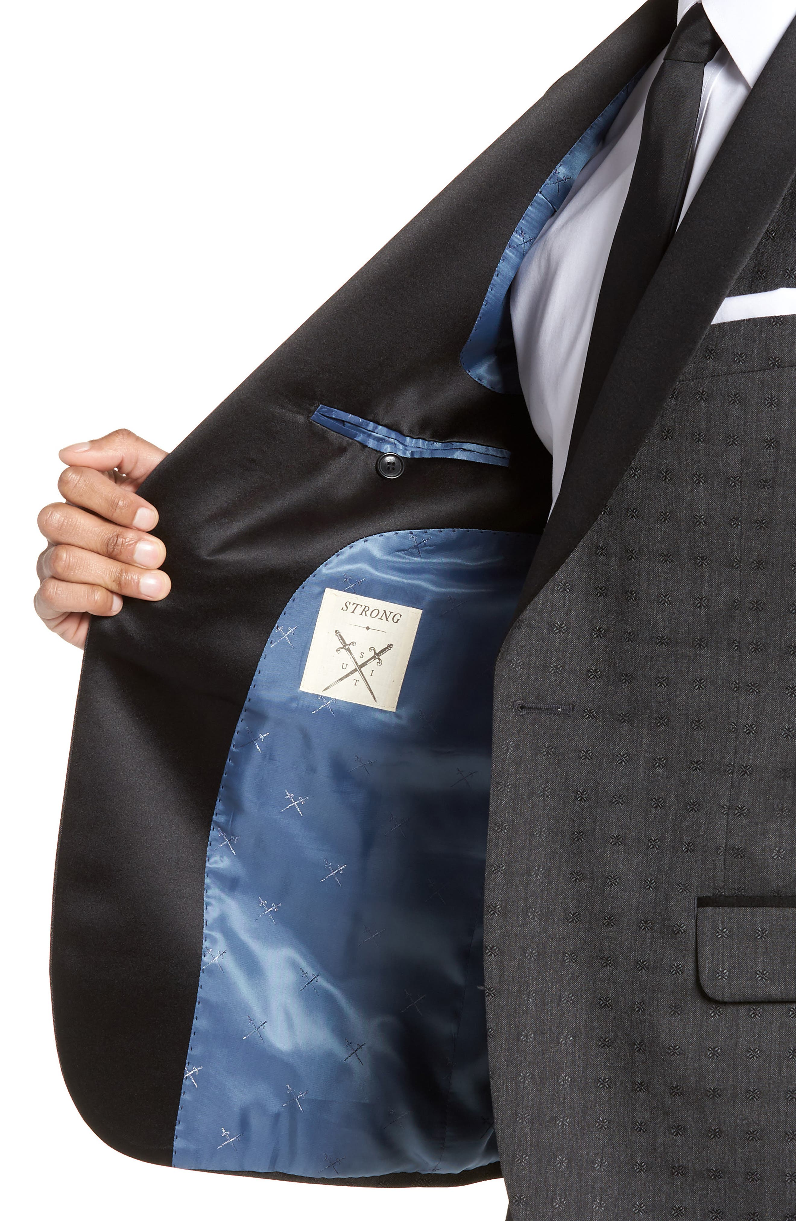 Morgan Trim Fit Wool Dinner Jacket,                             Alternate thumbnail 4, color,                             Charcoal Dobby