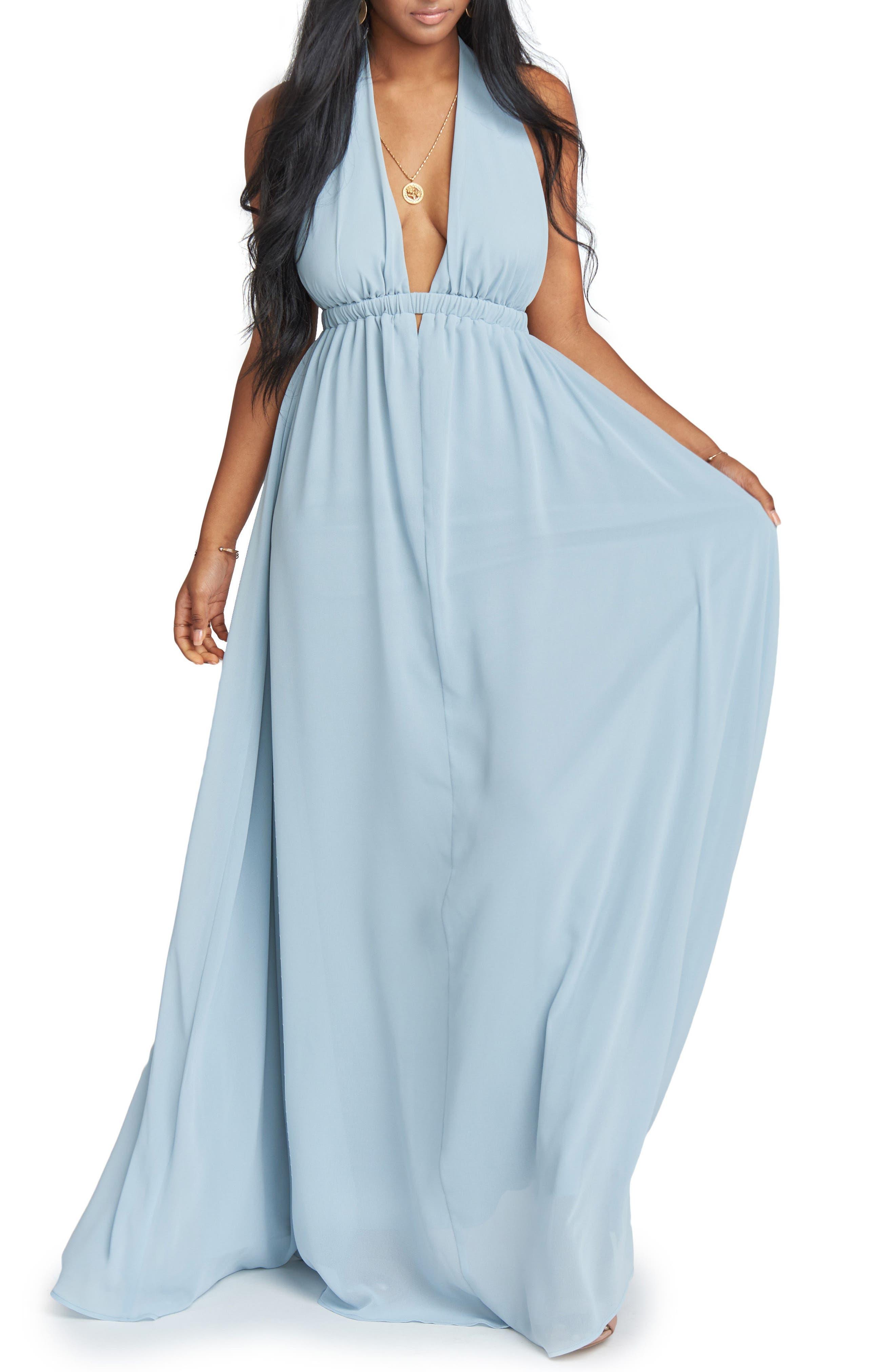 Luna Halter Gown,                             Main thumbnail 1, color,                             Steel Blue