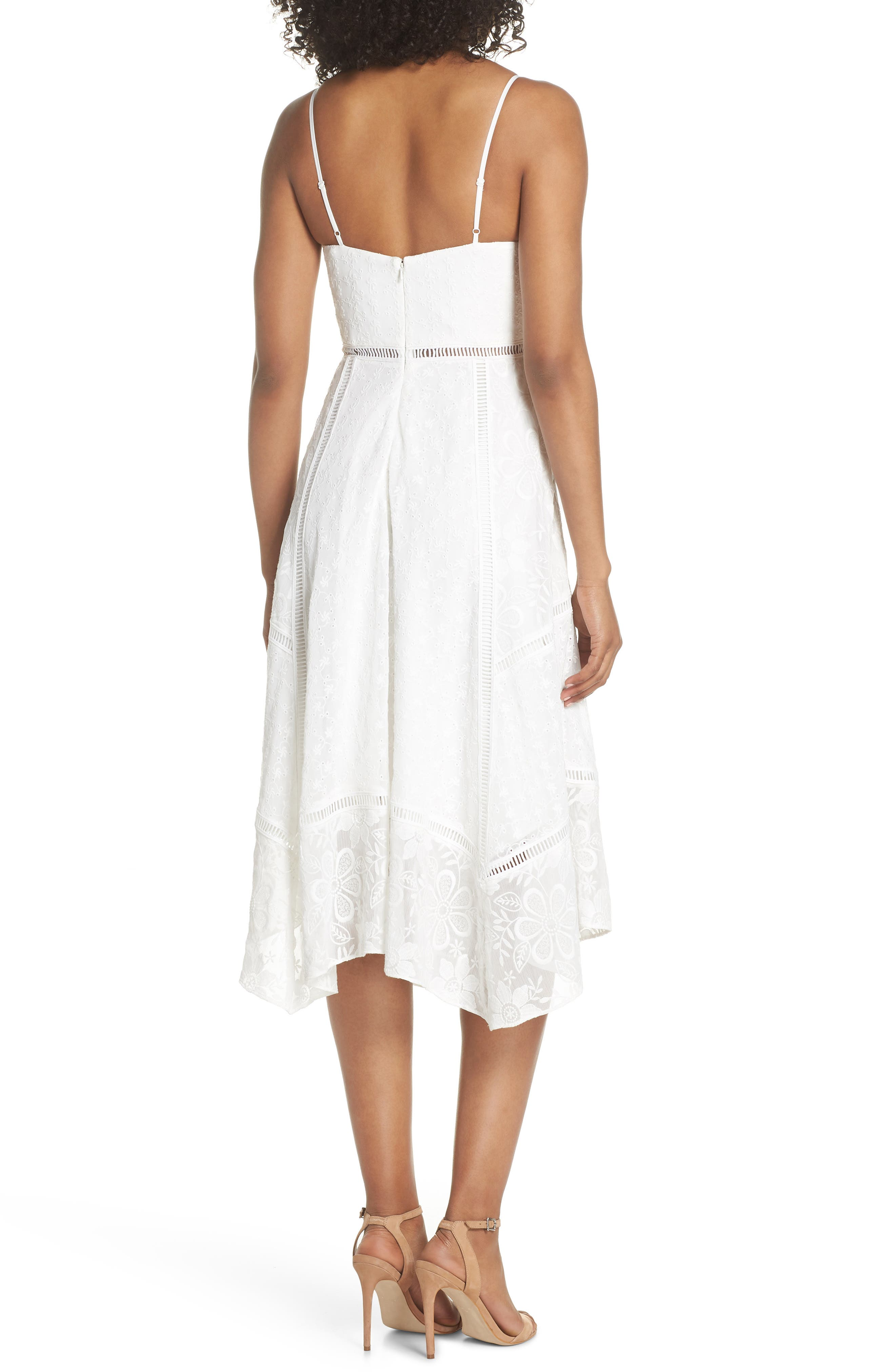 Broderie Anglaise Knot Detail Dress,                             Alternate thumbnail 2, color,                             White