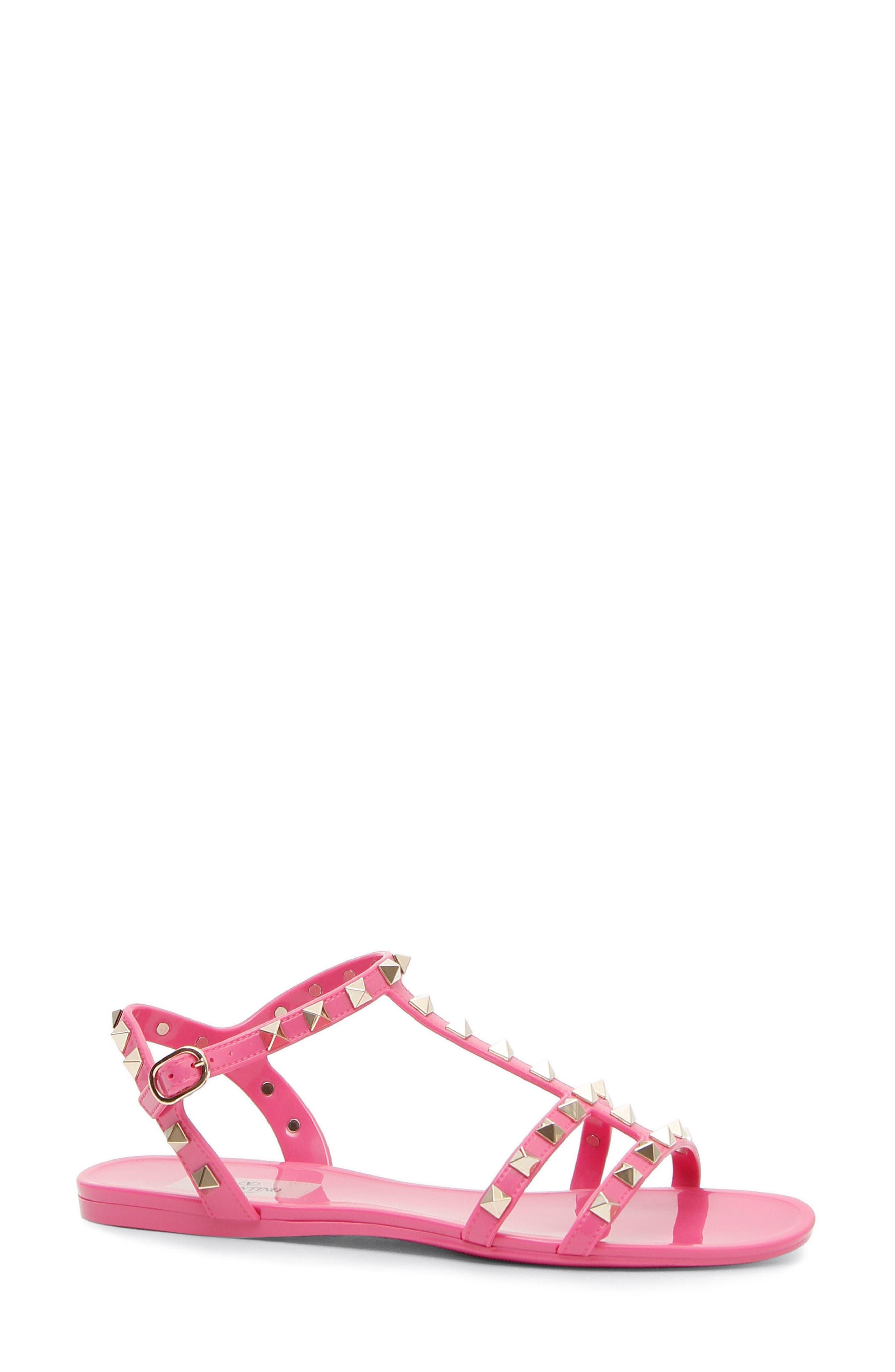 Rockstud T-Strap Sandal,                             Main thumbnail 1, color,                             Pink