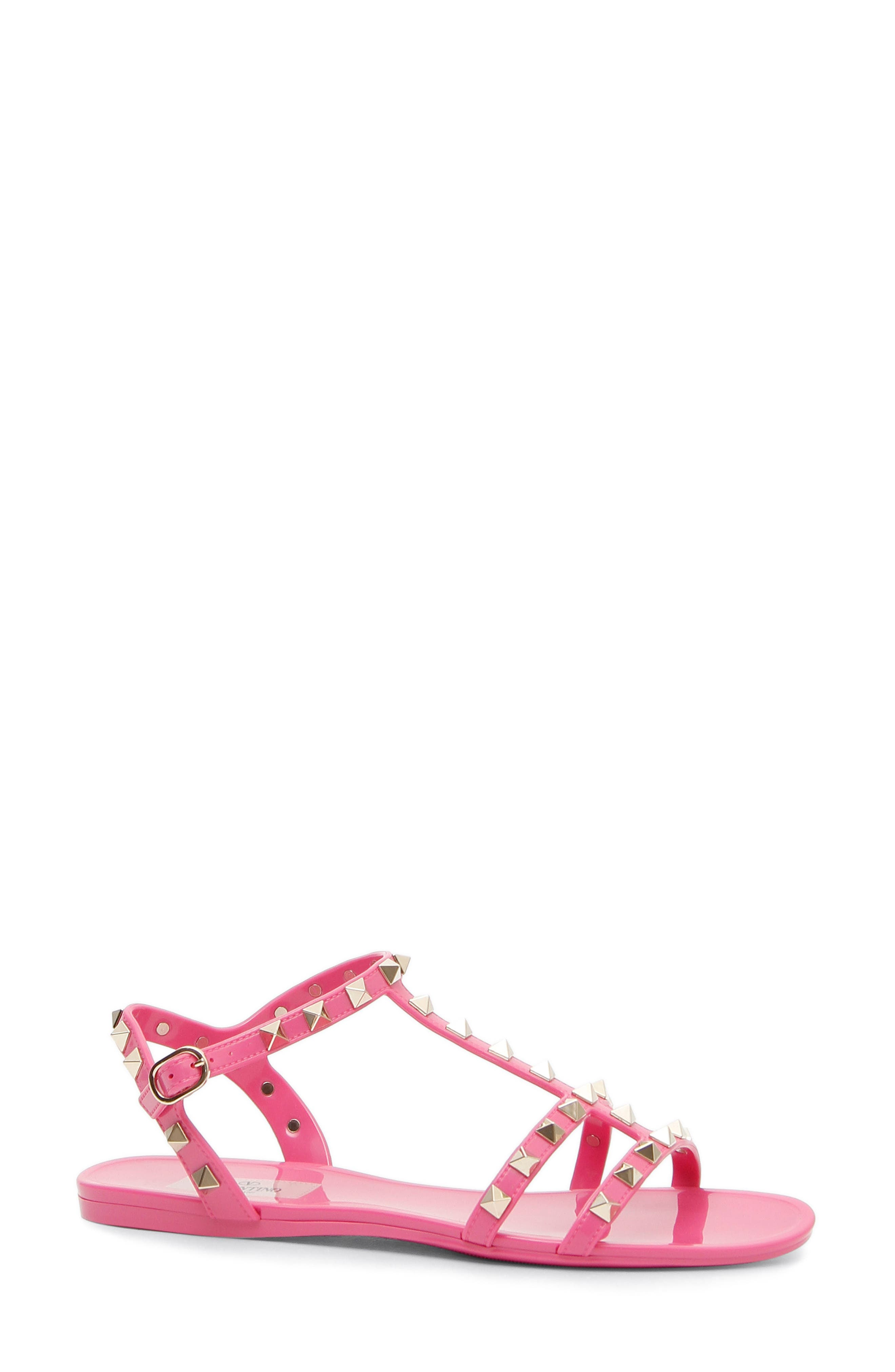 Rockstud T-Strap Sandal,                         Main,                         color, Pink