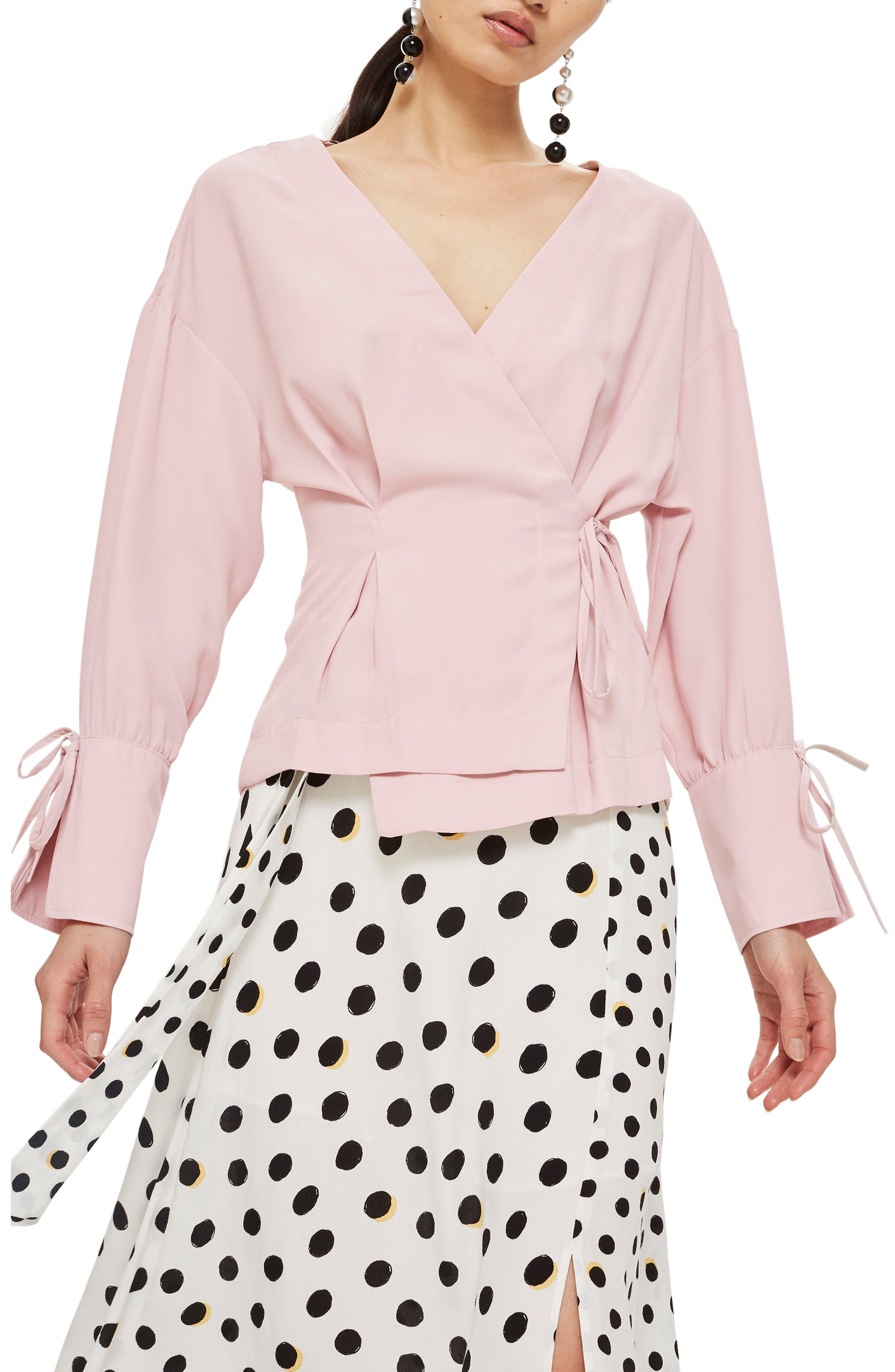 Tie Sleeve Wrap Blouse,                             Main thumbnail 1, color,                             Blush
