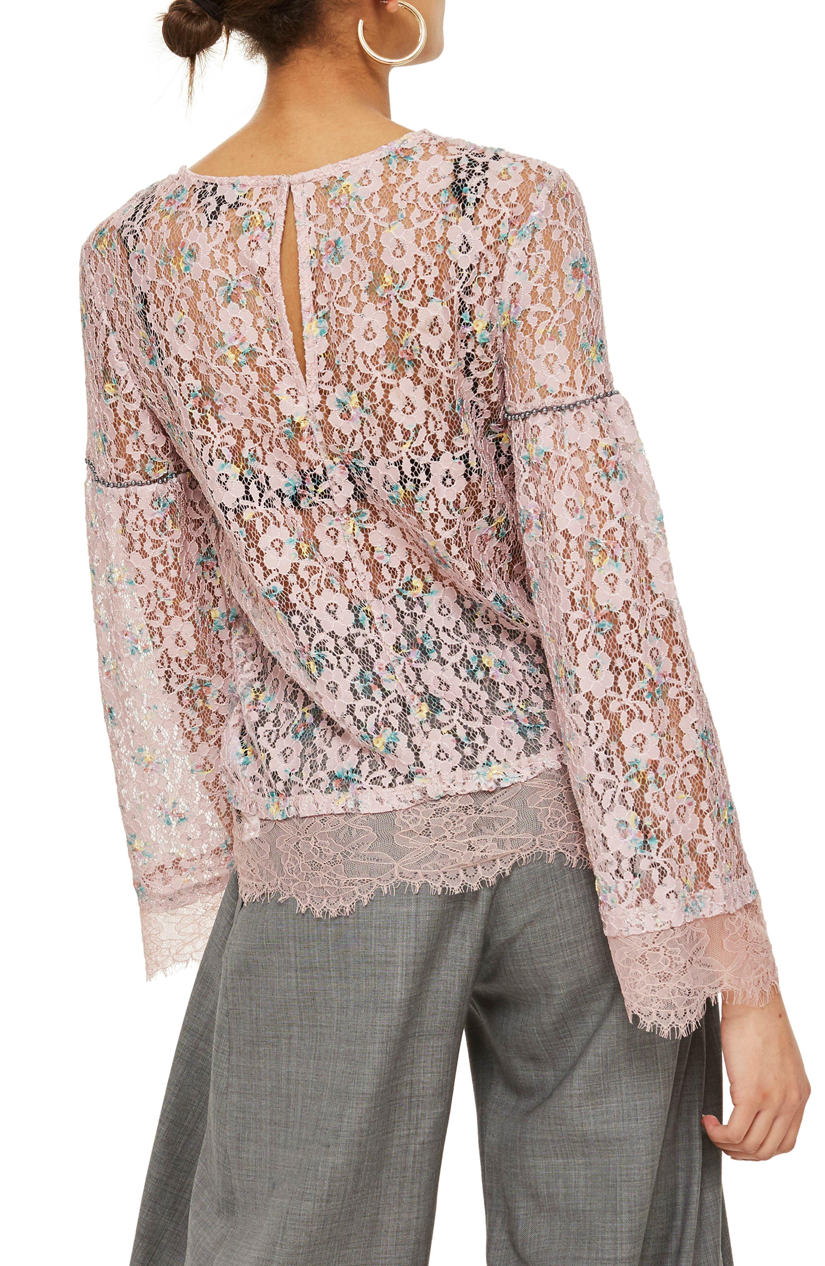 Stud Trim Lace Top,                             Alternate thumbnail 3, color,                             Pink Multi