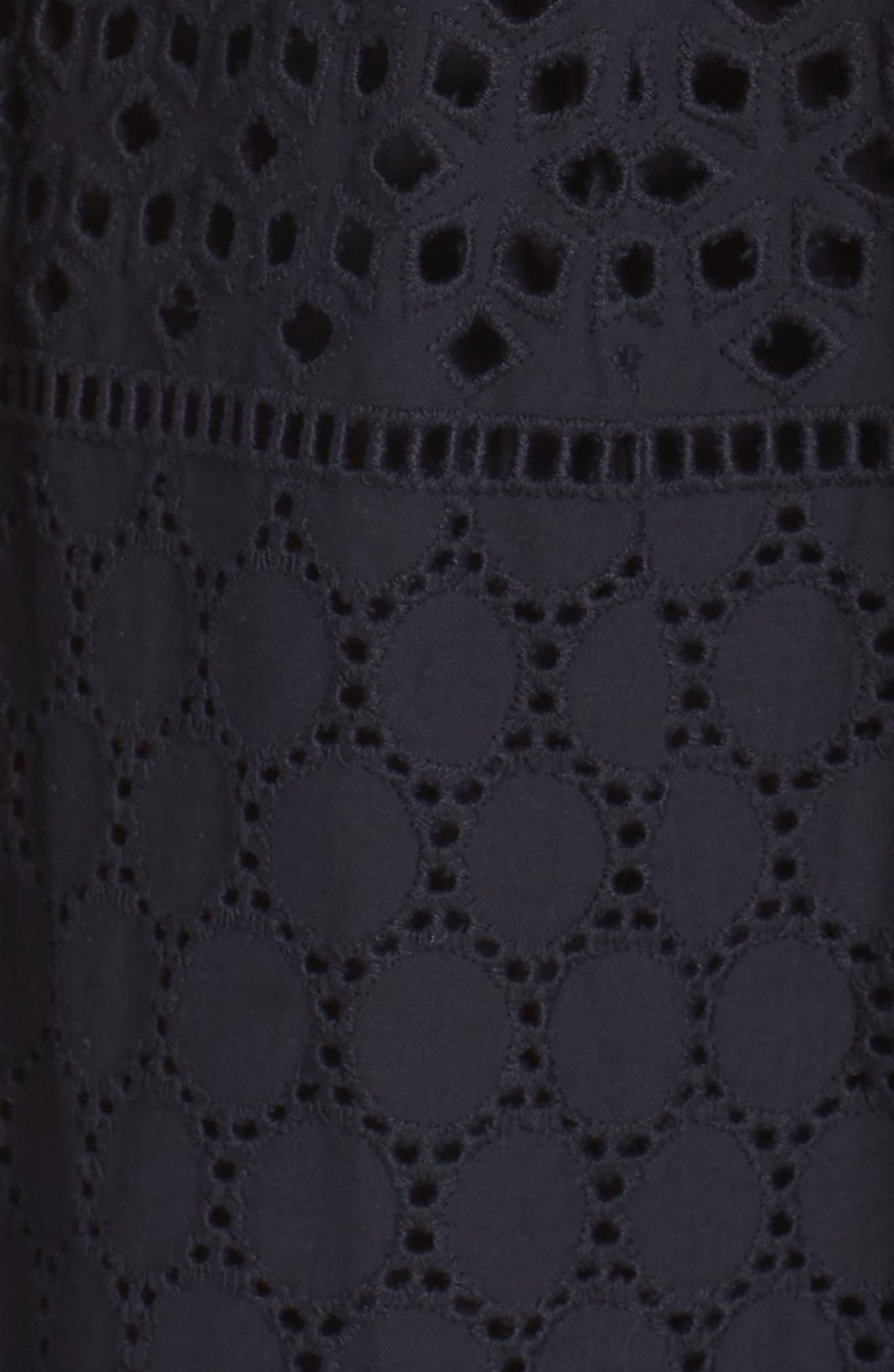V-Neck Cotton Eyelet Fit & Flare Dress,                             Alternate thumbnail 6, color,                             Navy