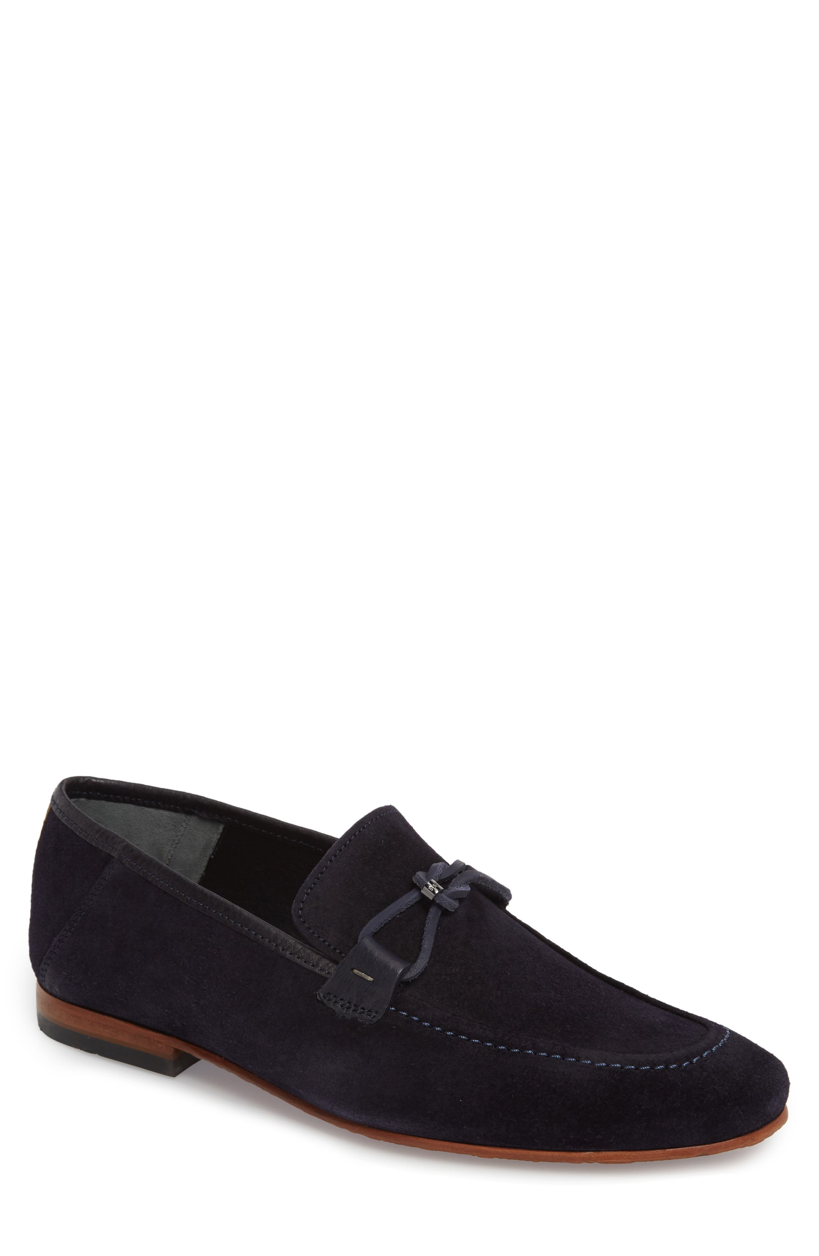 Hoppken Convertible Knotted Loafer,                             Main thumbnail 1, color,                             Dark Blue Suede