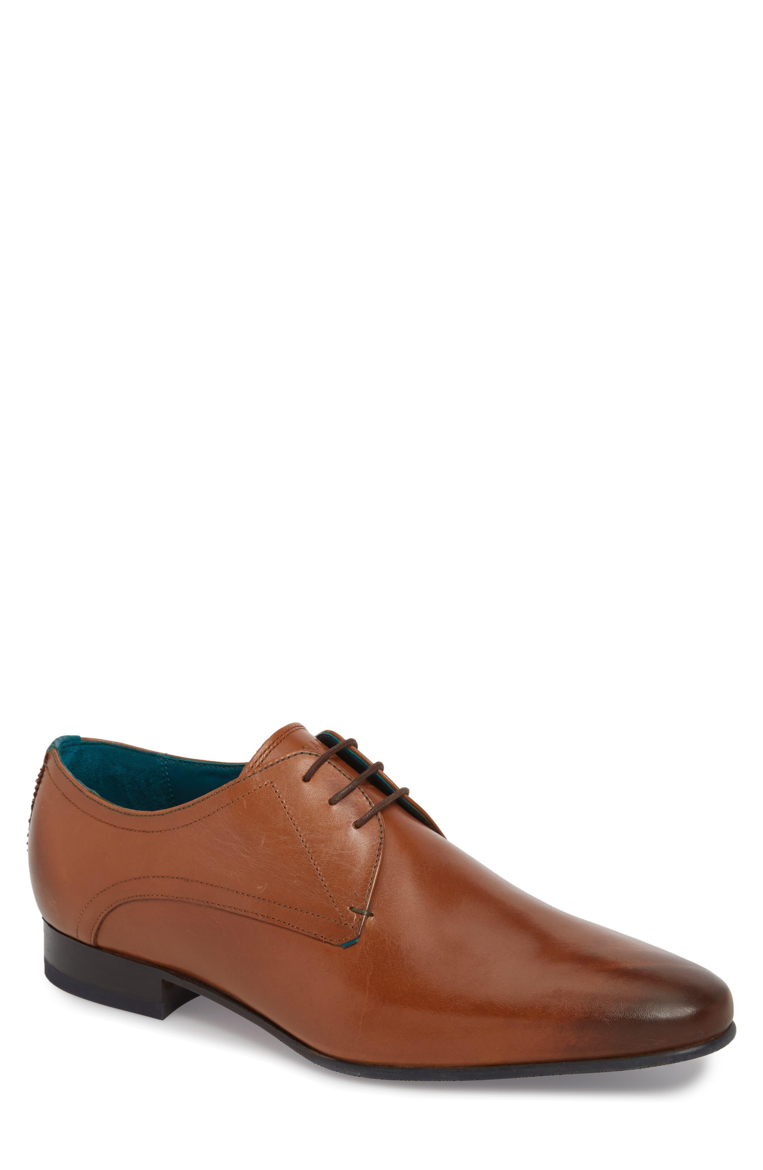 Bhartli Plain Toe Derby,                         Main,                         color, Tan Leather