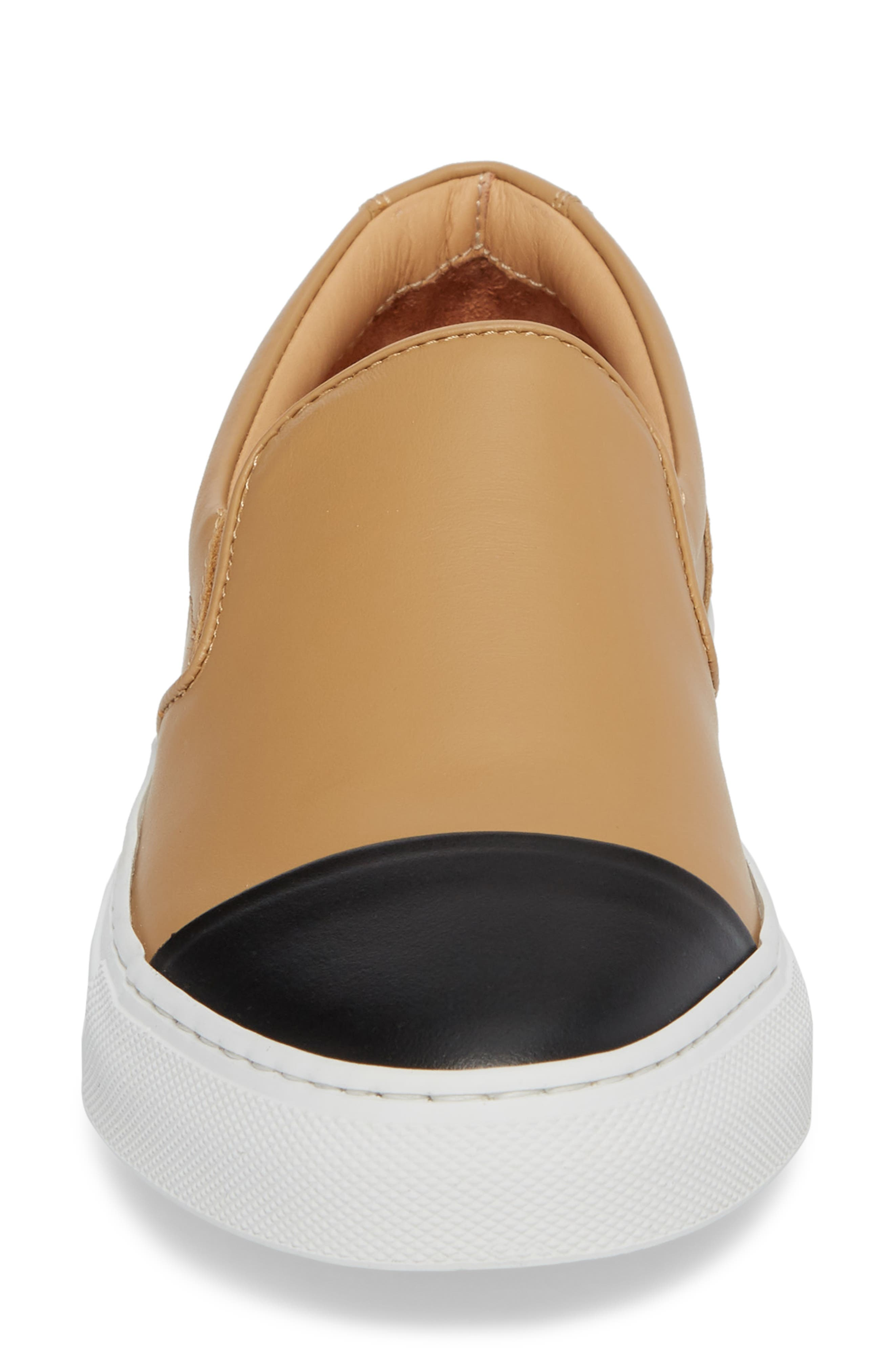 Wooster Cap Toe Slip-On Sneaker,                             Alternate thumbnail 4, color,                             Almond