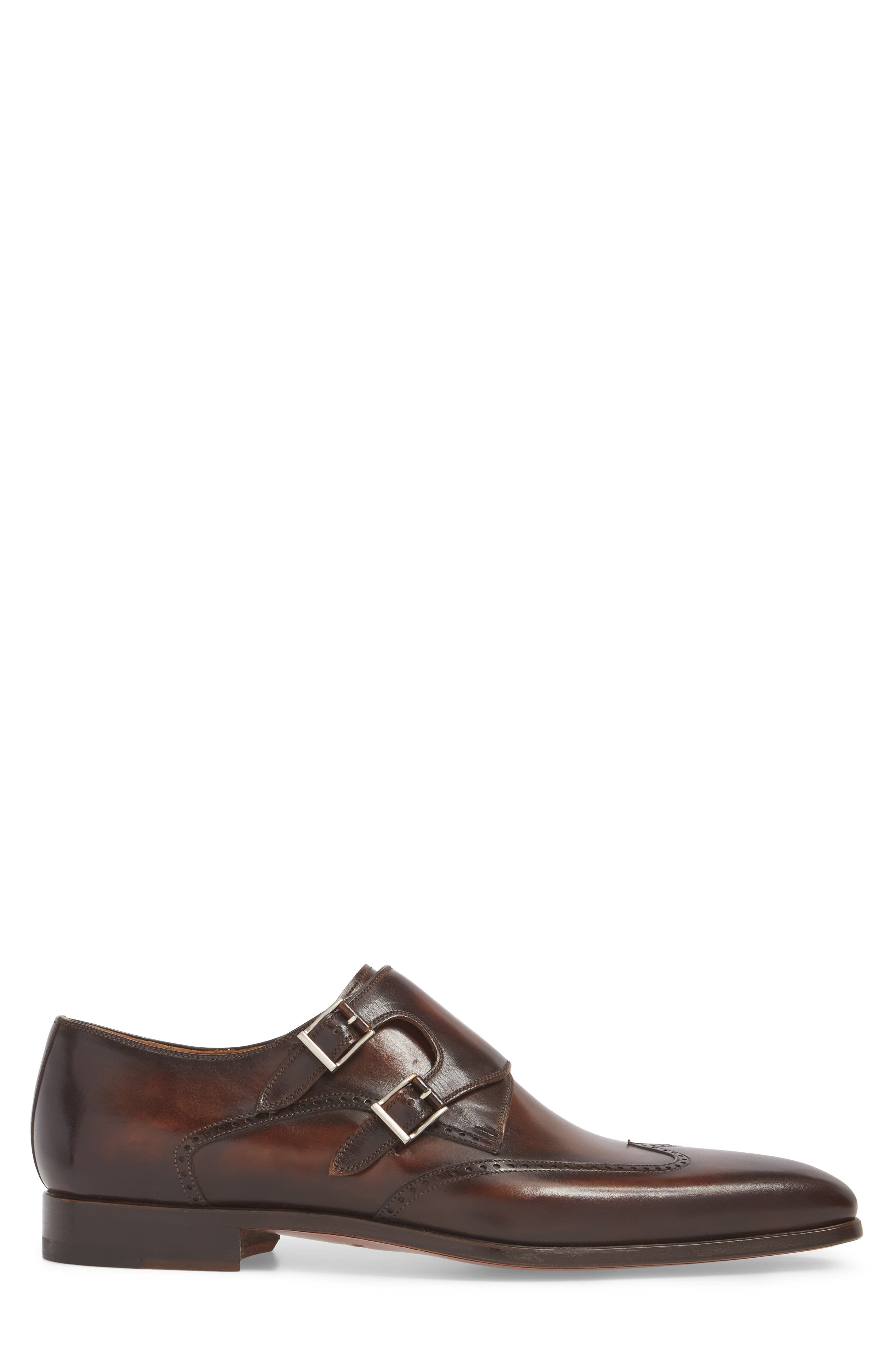 Dixon Wingtip Double Strap Monk Shoe,                             Alternate thumbnail 3, color,                             Tobacco Leather