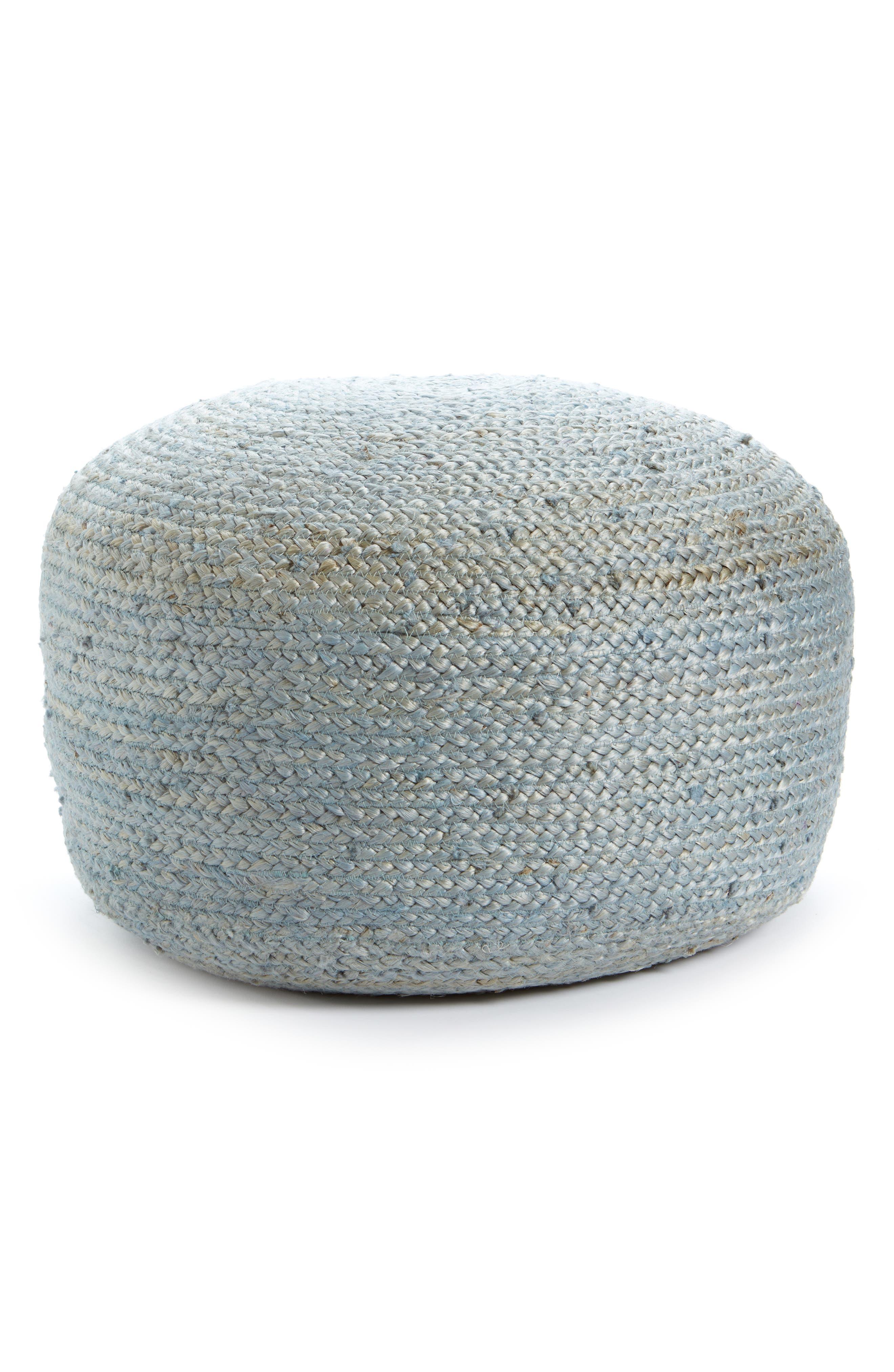 Indoor/Outdoor Jute Pouf,                         Main,                         color, Blue Drizzle