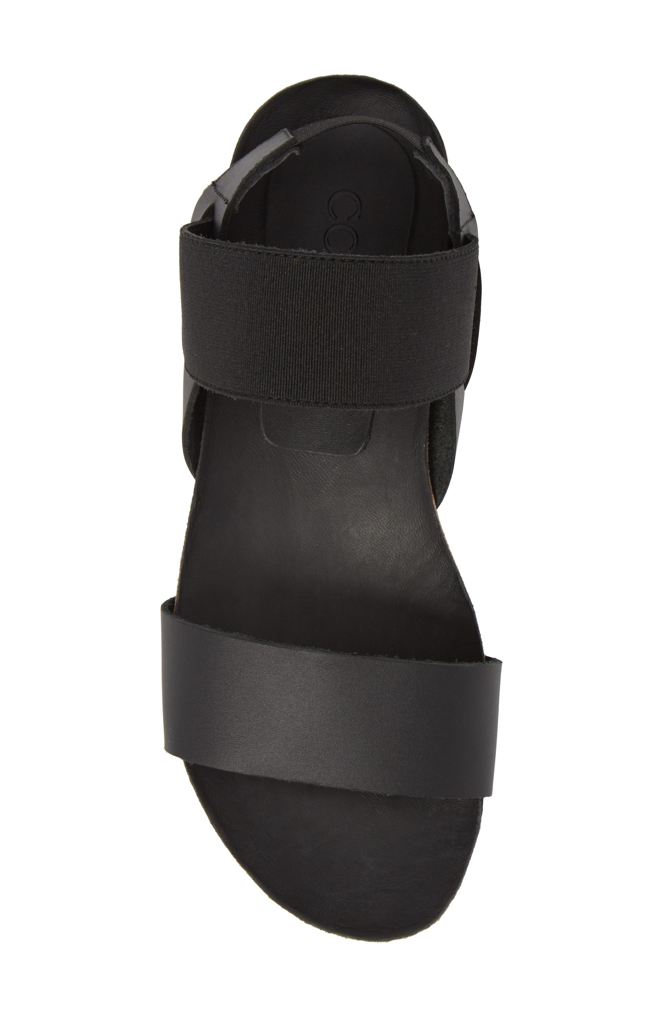 Luna Sandal,                             Alternate thumbnail 5, color,                             Black Leather