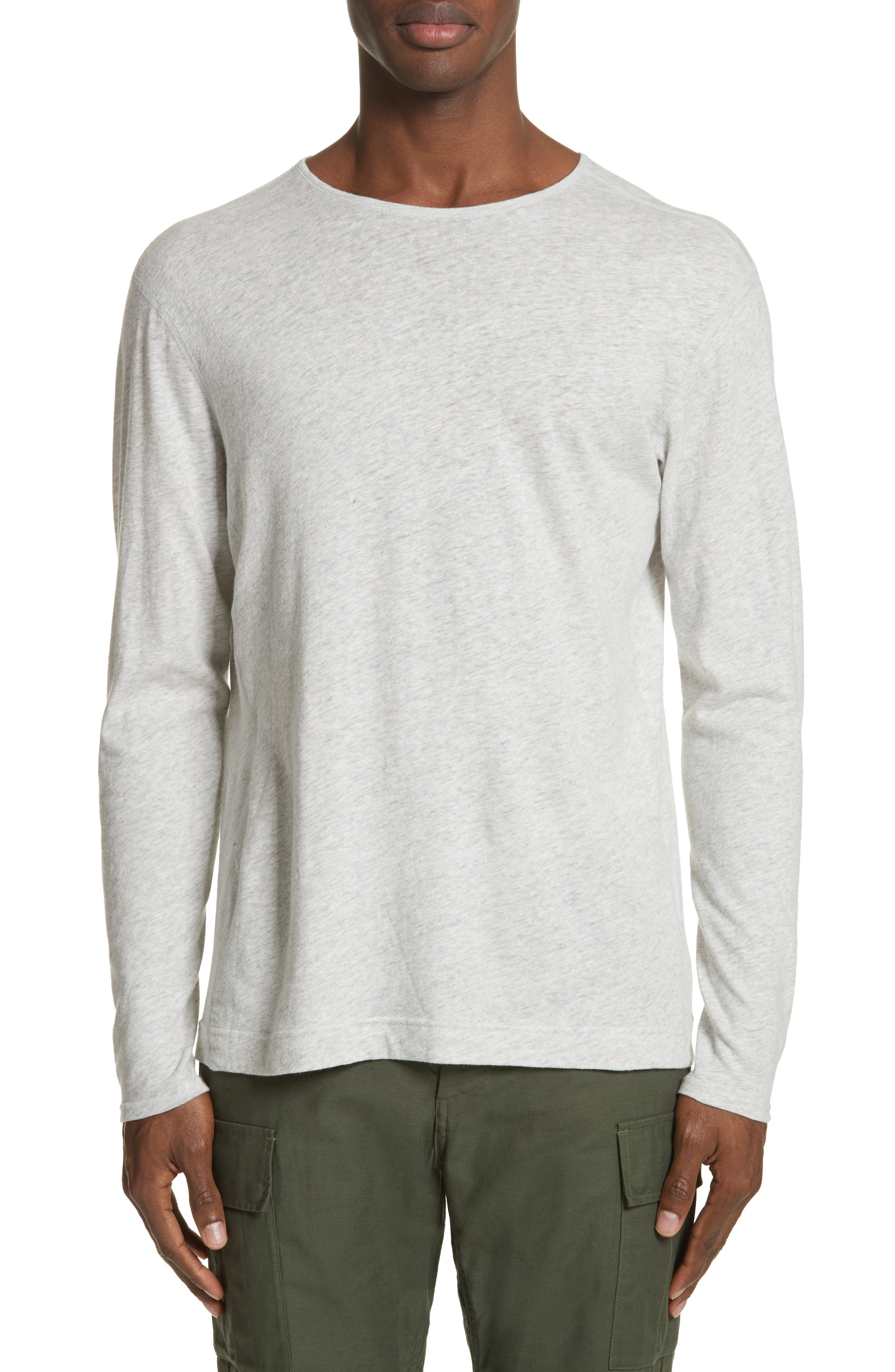 Linen Blend Jersey Long Sleeve T-Shirt,                         Main,                         color, Natural