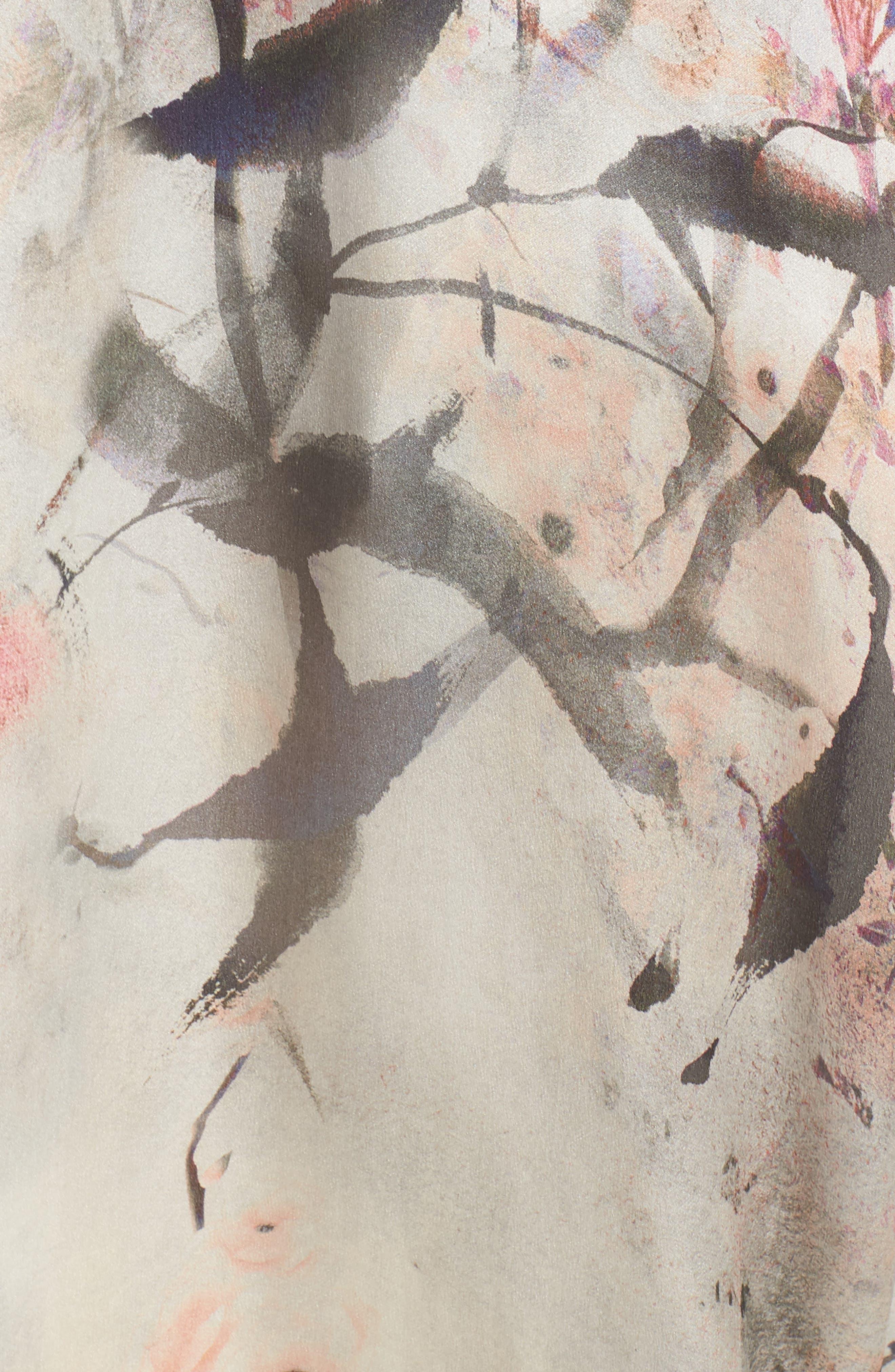 Print Silk Caftan,                             Alternate thumbnail 6, color,                             Nightingale Print