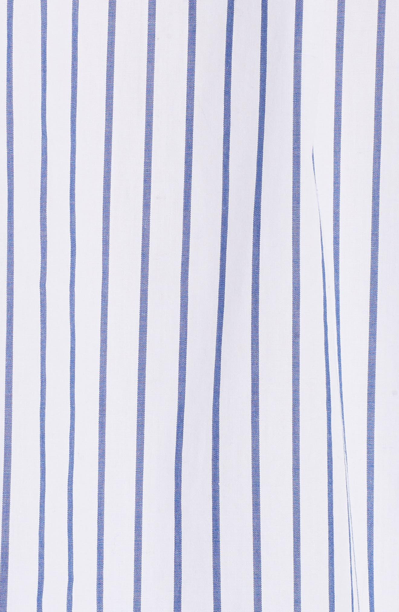 Flutter Sleeve Stripe Shirt,                             Alternate thumbnail 5, color,                             Blanc Multi