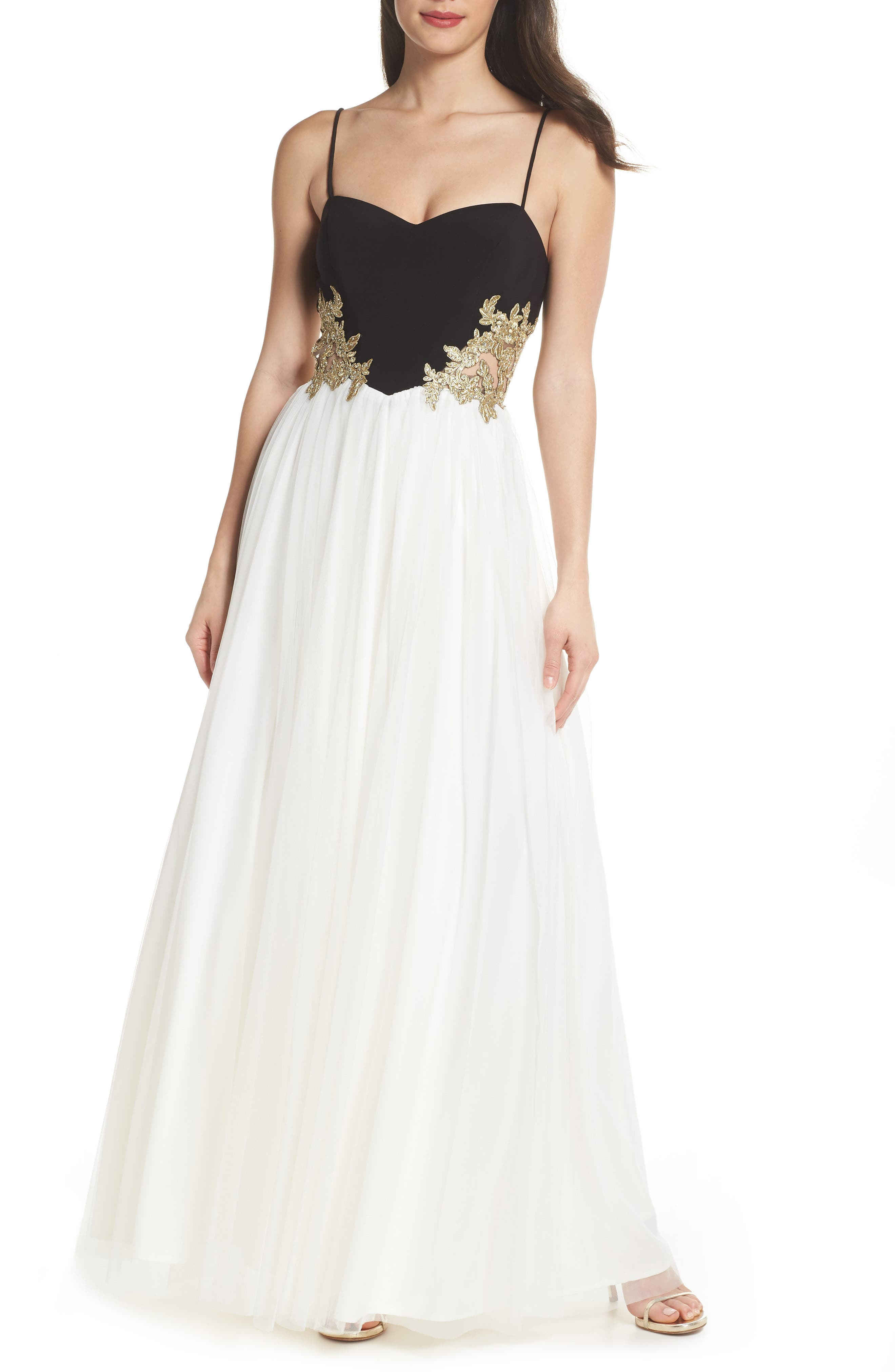 Blondie Nights Embellished Tulle Gown,                             Main thumbnail 1, color,                             Black/ Ivory/ Gold
