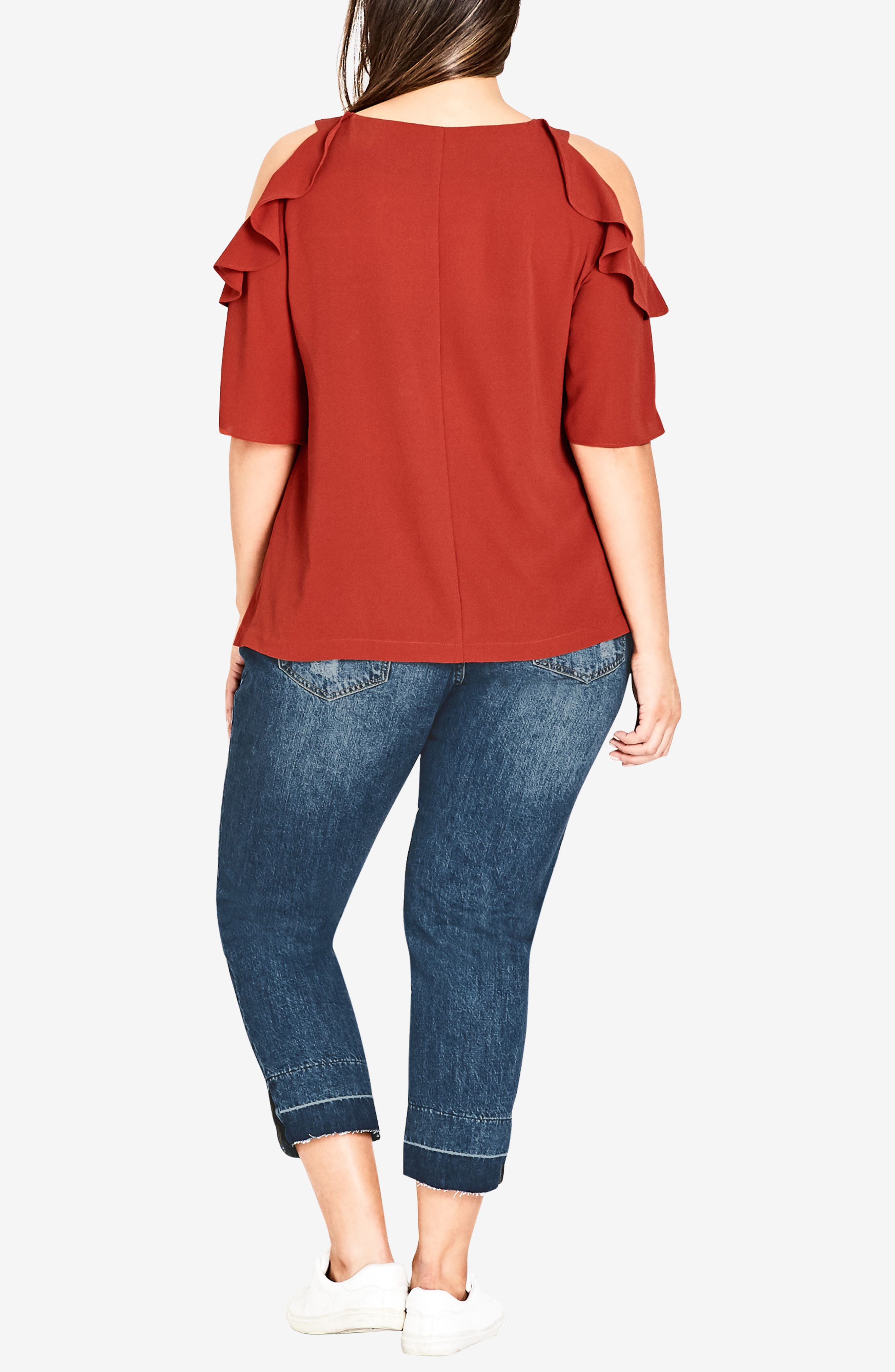 Alternate Image 3  - City Chic Wild Sleeve Cold Shoulder Top (Plus Size)