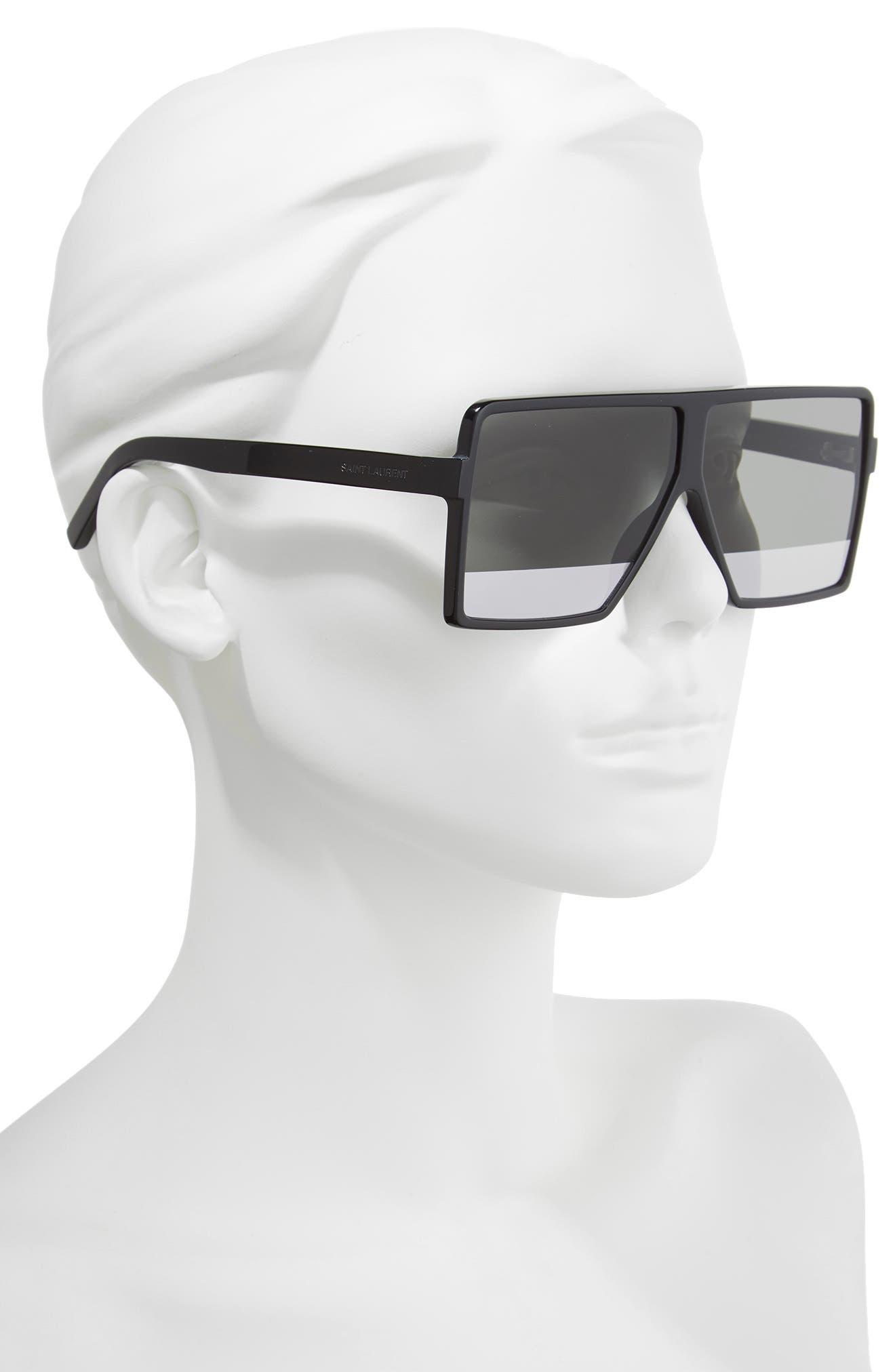Betty 63mm Shield Sunglasses,                             Alternate thumbnail 2, color,                             Black