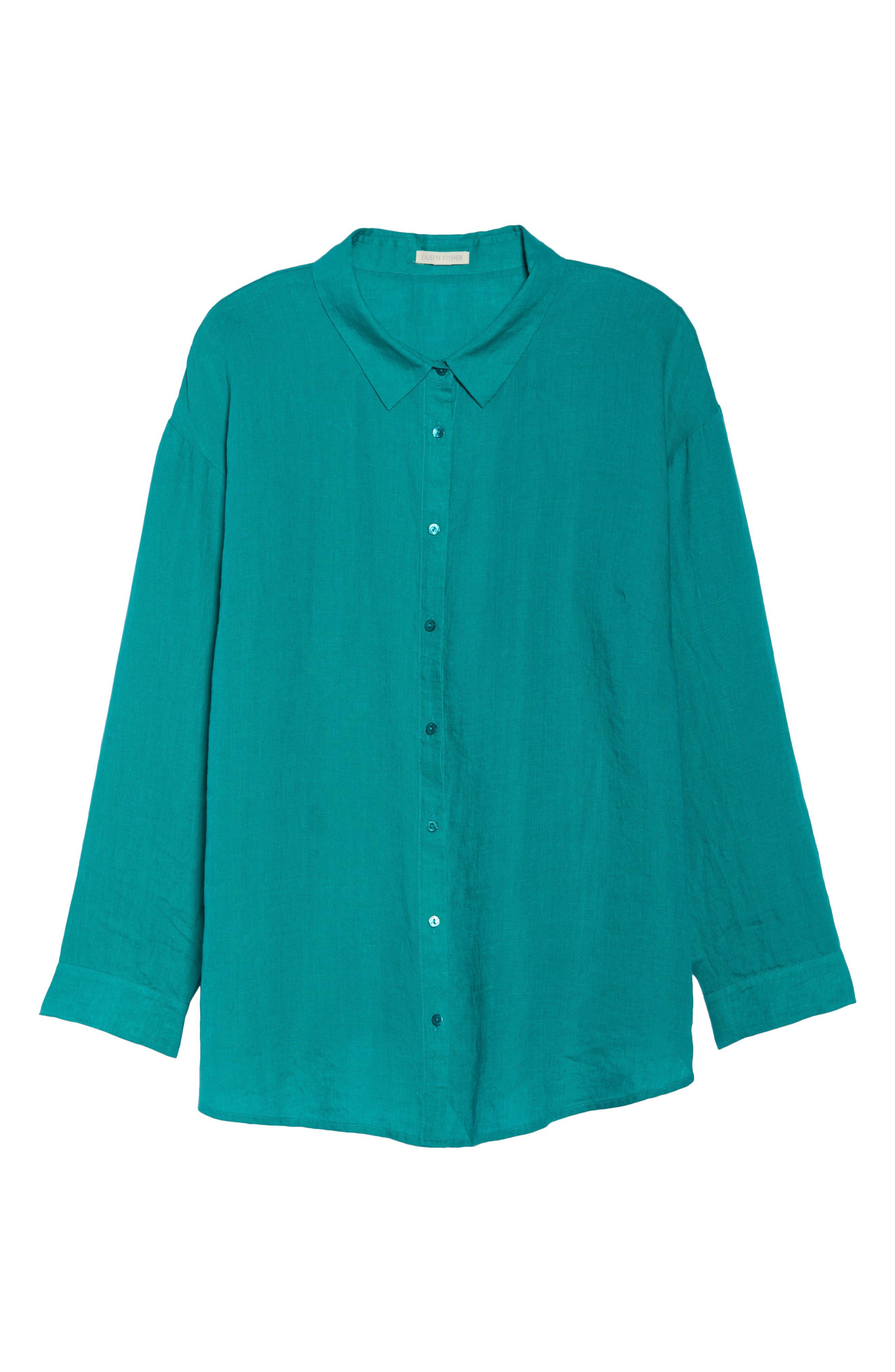 Organic Linen Shirt,                             Alternate thumbnail 7, color,                             Turquoise