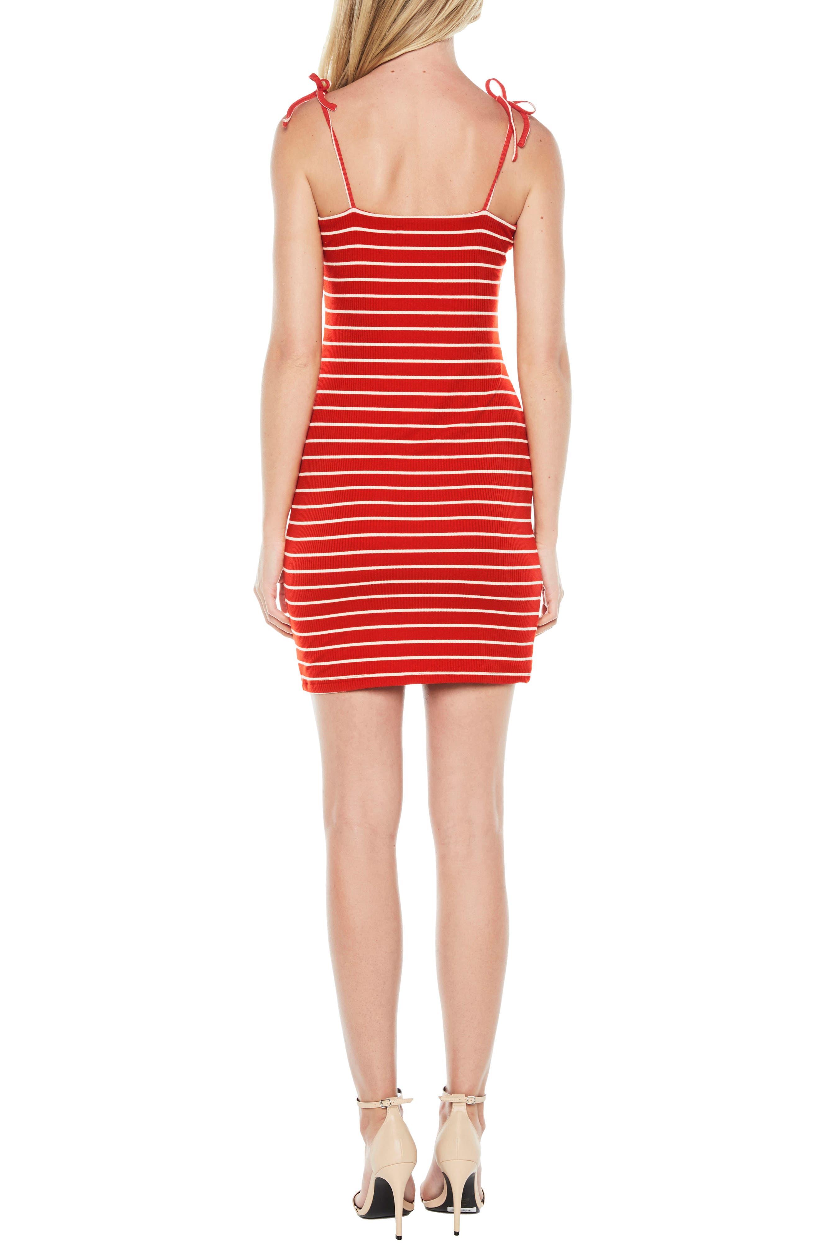 Romy Tie Strap Tube Dress,                             Alternate thumbnail 2, color,                             Red/ White Stripe