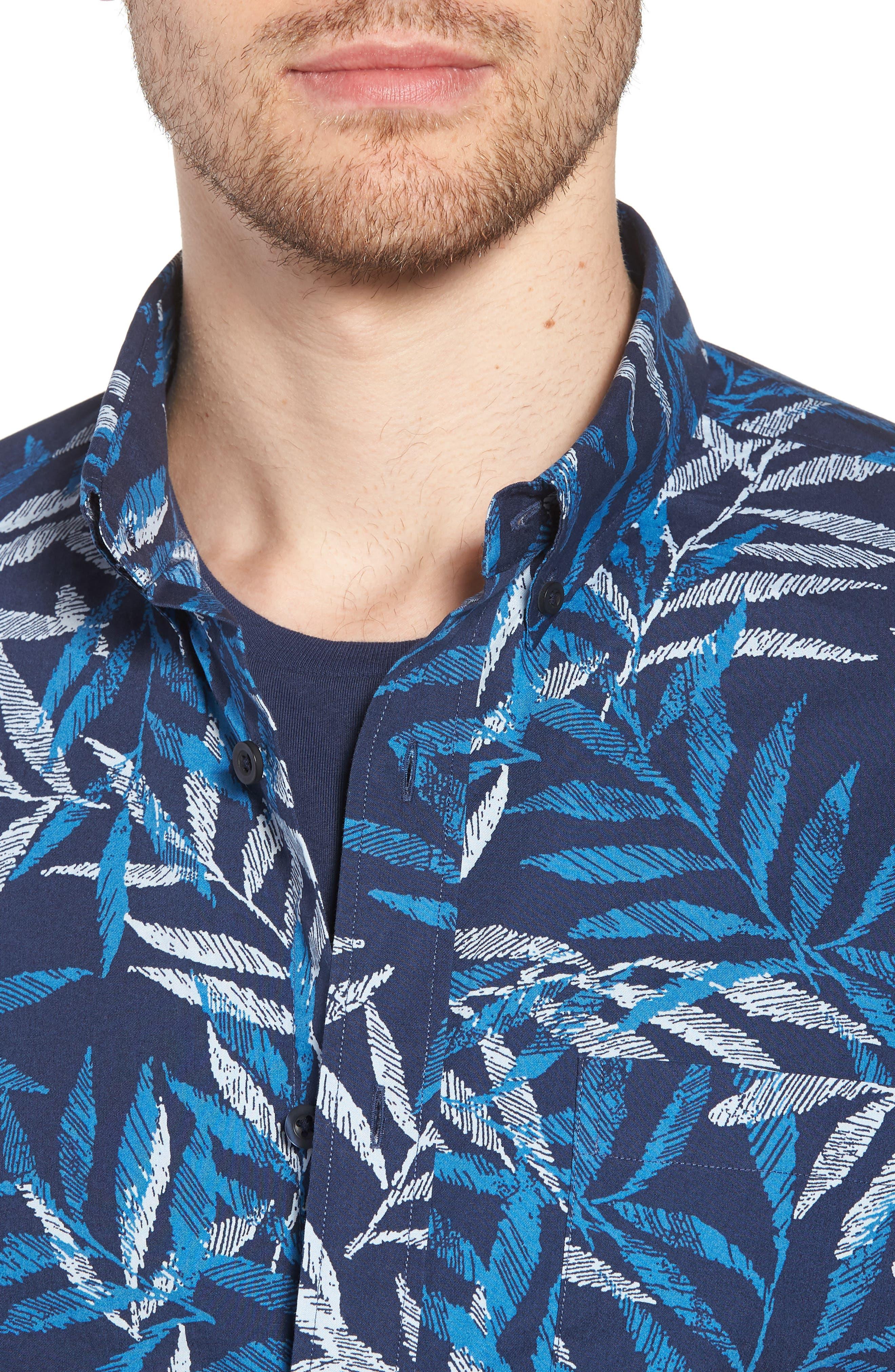 Trim Fit Print Short Sleeve Sport Shirt,                             Alternate thumbnail 4, color,                             Blue Dark Etched Leaves