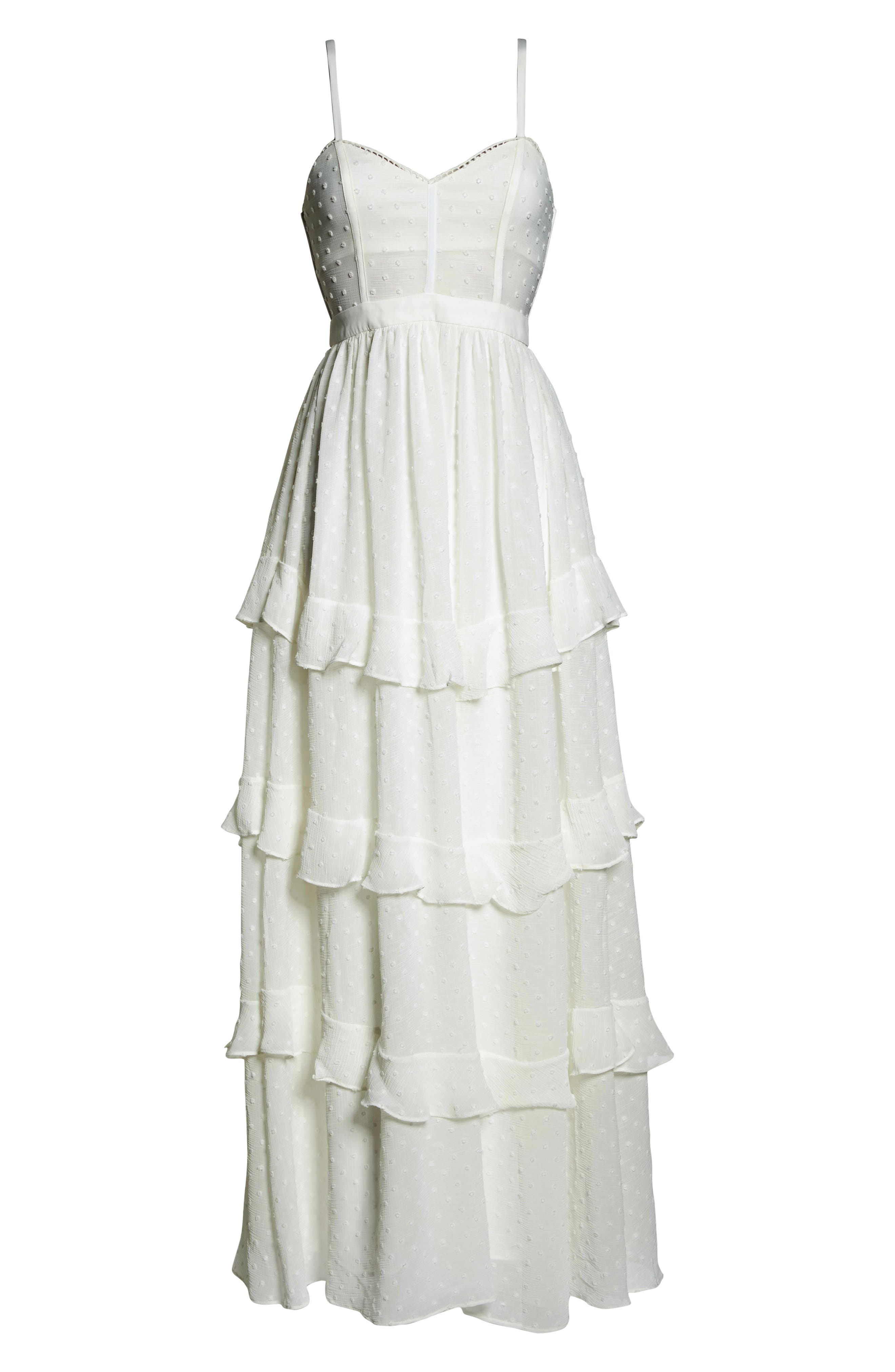 Nancy Tiered Swiss Dot Gown,                             Alternate thumbnail 7, color,                             Ivory