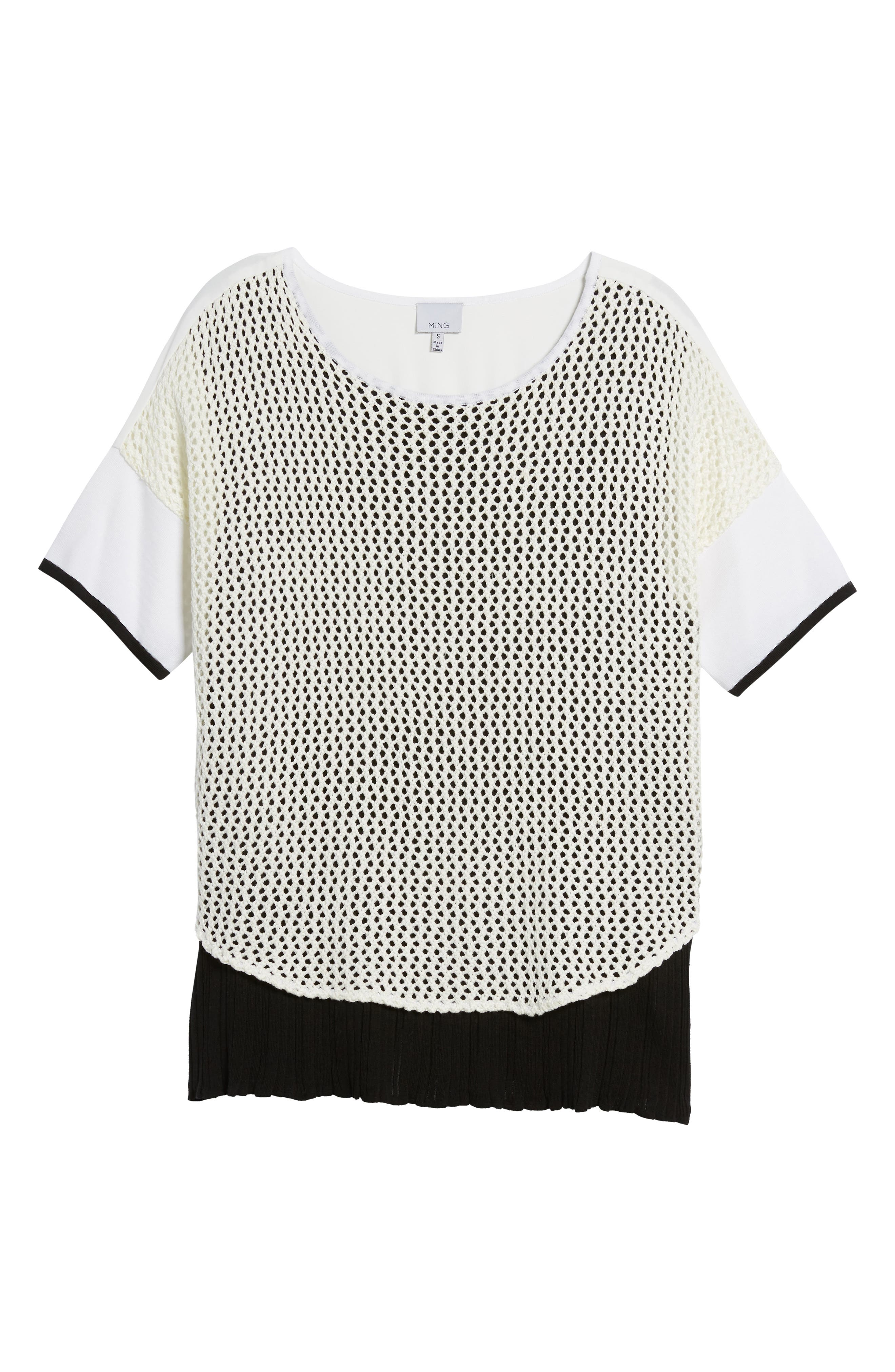Mixed Media Short Sleeve Tunic Top,                             Alternate thumbnail 6, color,                             White/ Black