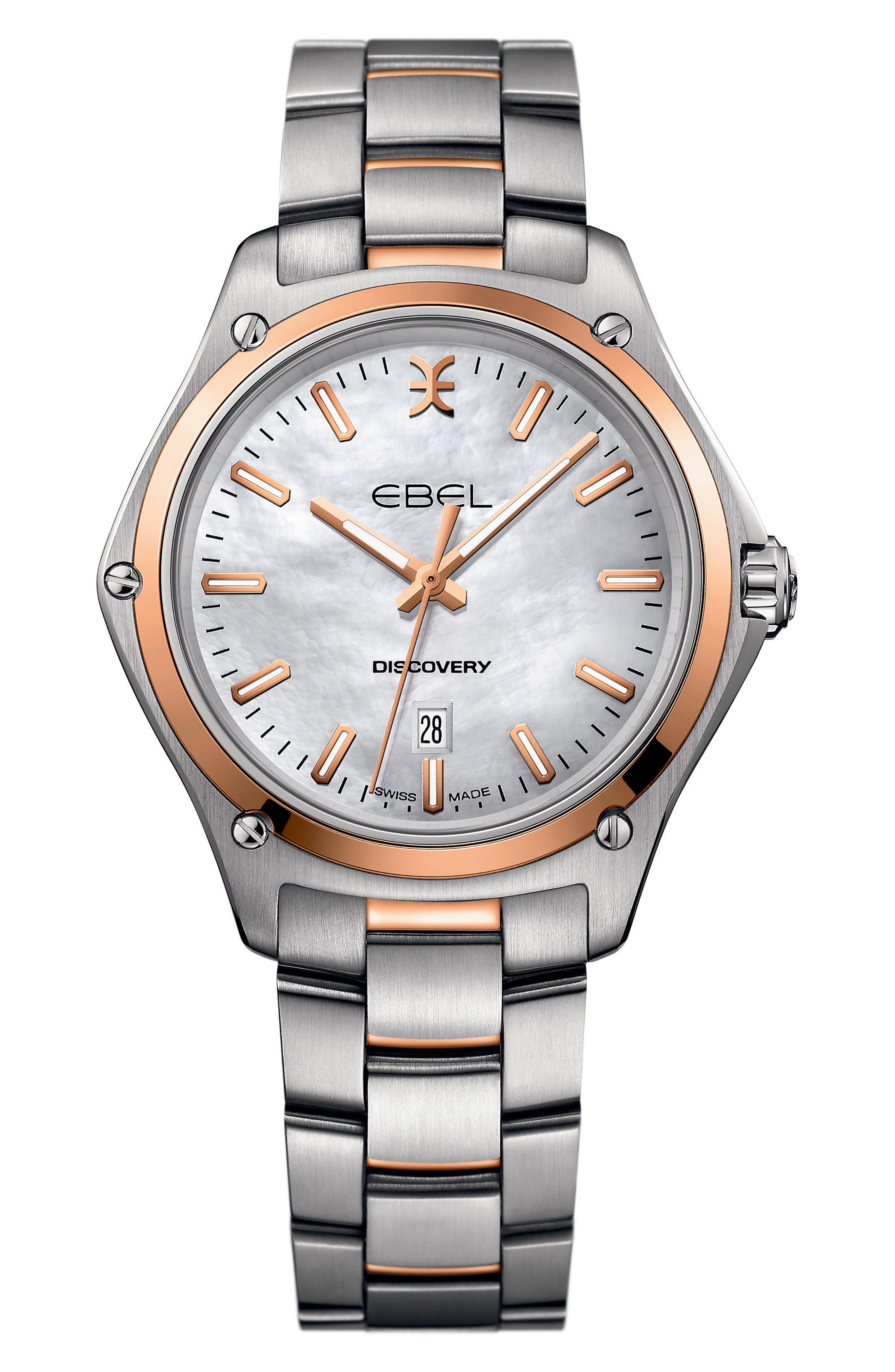 Discovery Bracelet Watch, 33mm,                             Main thumbnail 1, color,                             Silver/ Mop/ Rose Gold