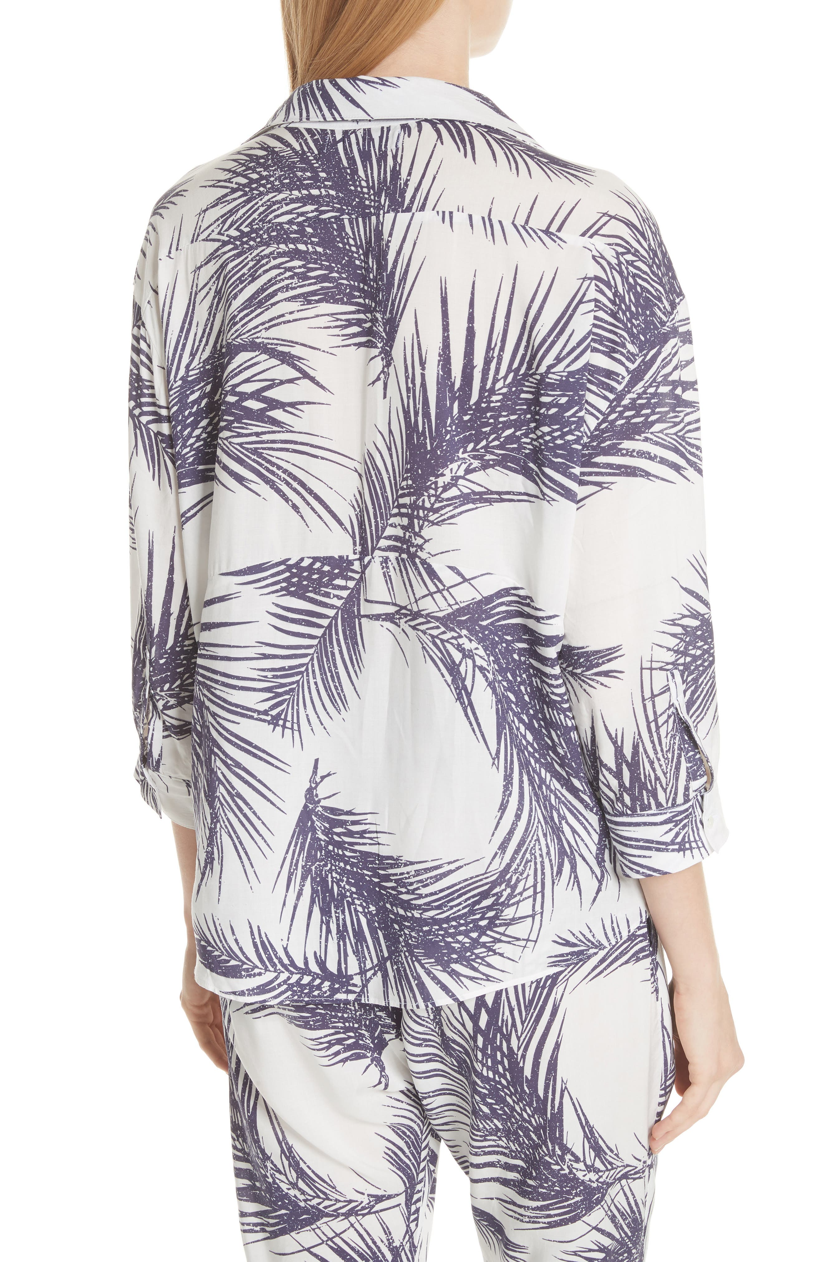 Palm Print Island Shirt,                             Alternate thumbnail 3, color,                             White/ Dark Purple