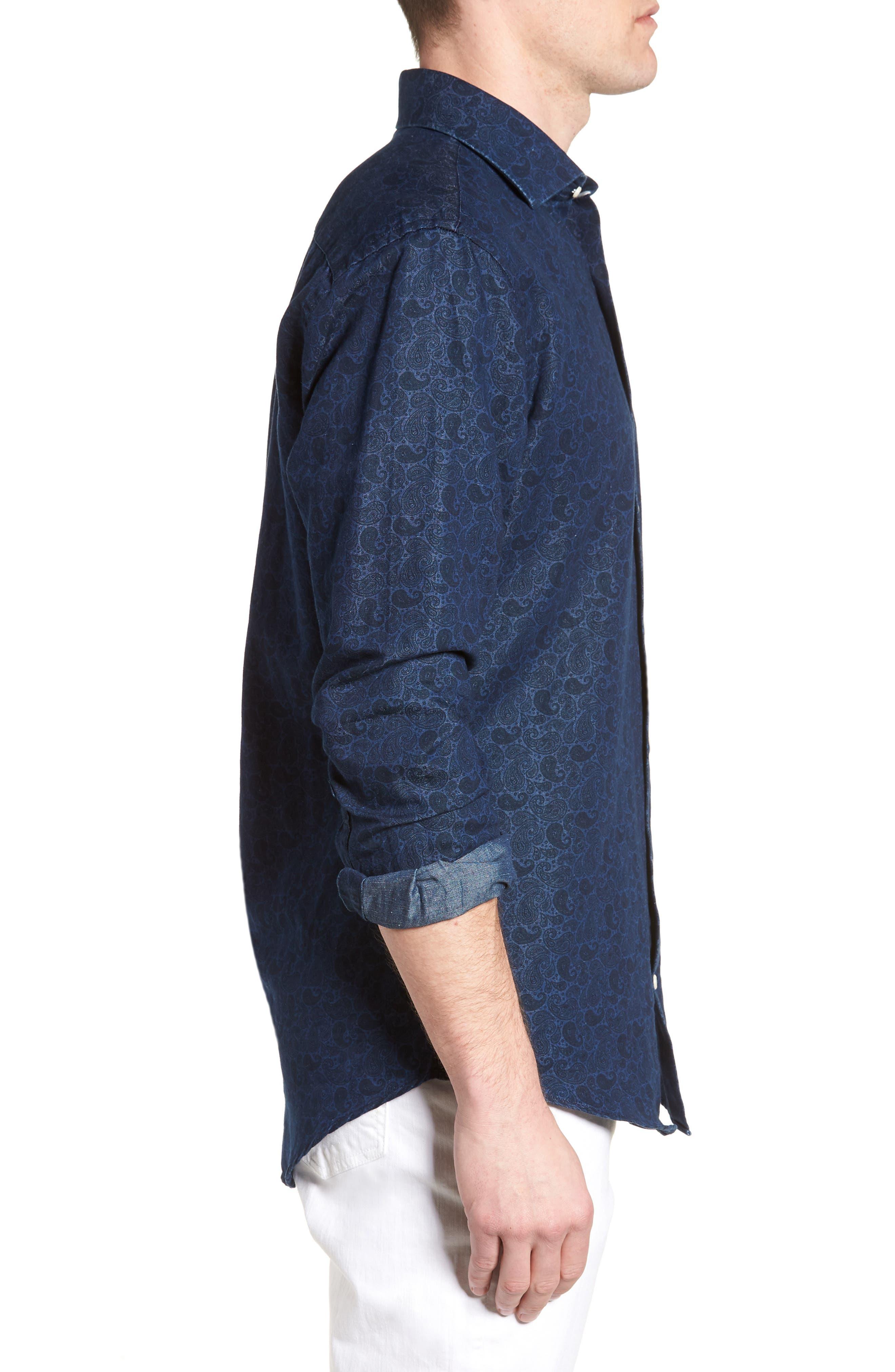 Crown Cool Paisley Denim Sport Shirt,                             Alternate thumbnail 3, color,                             Yankee Blue