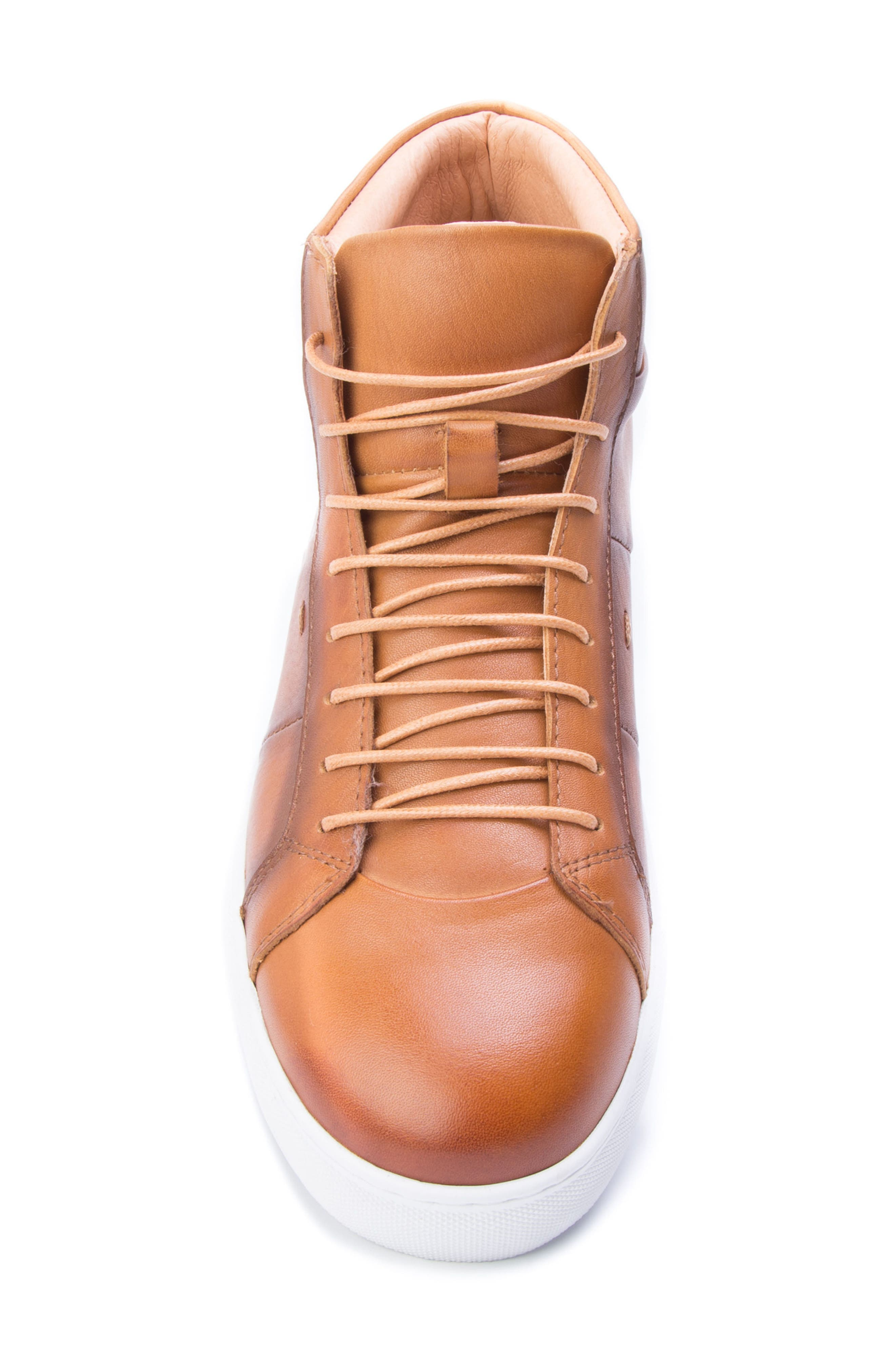 Phaser High Top Sneaker,                             Alternate thumbnail 5, color,                             Cognac Leather