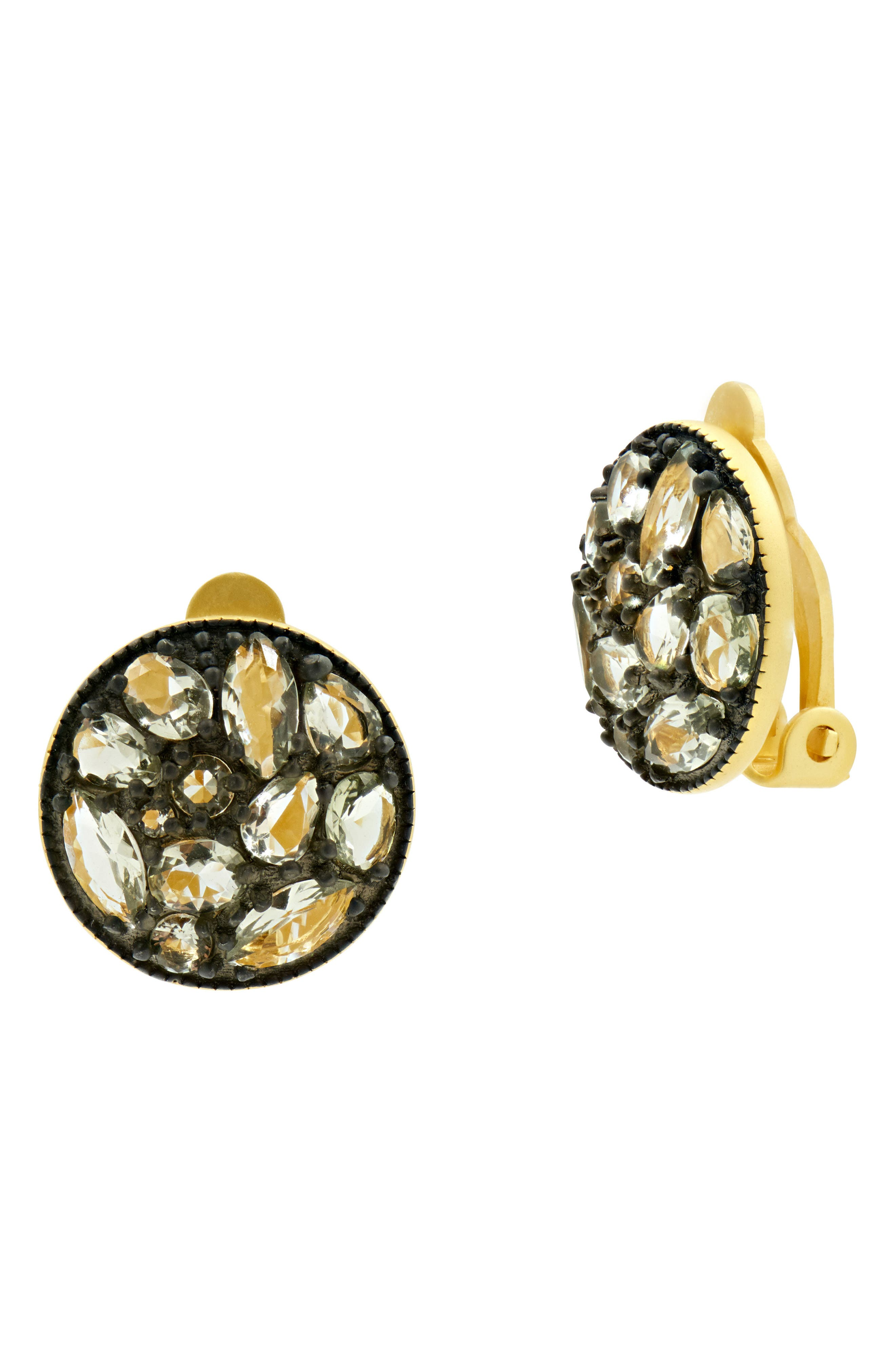 Rose Dor Disc Clip Earrings,                             Main thumbnail 1, color,                             Black Rhodium/ Gold