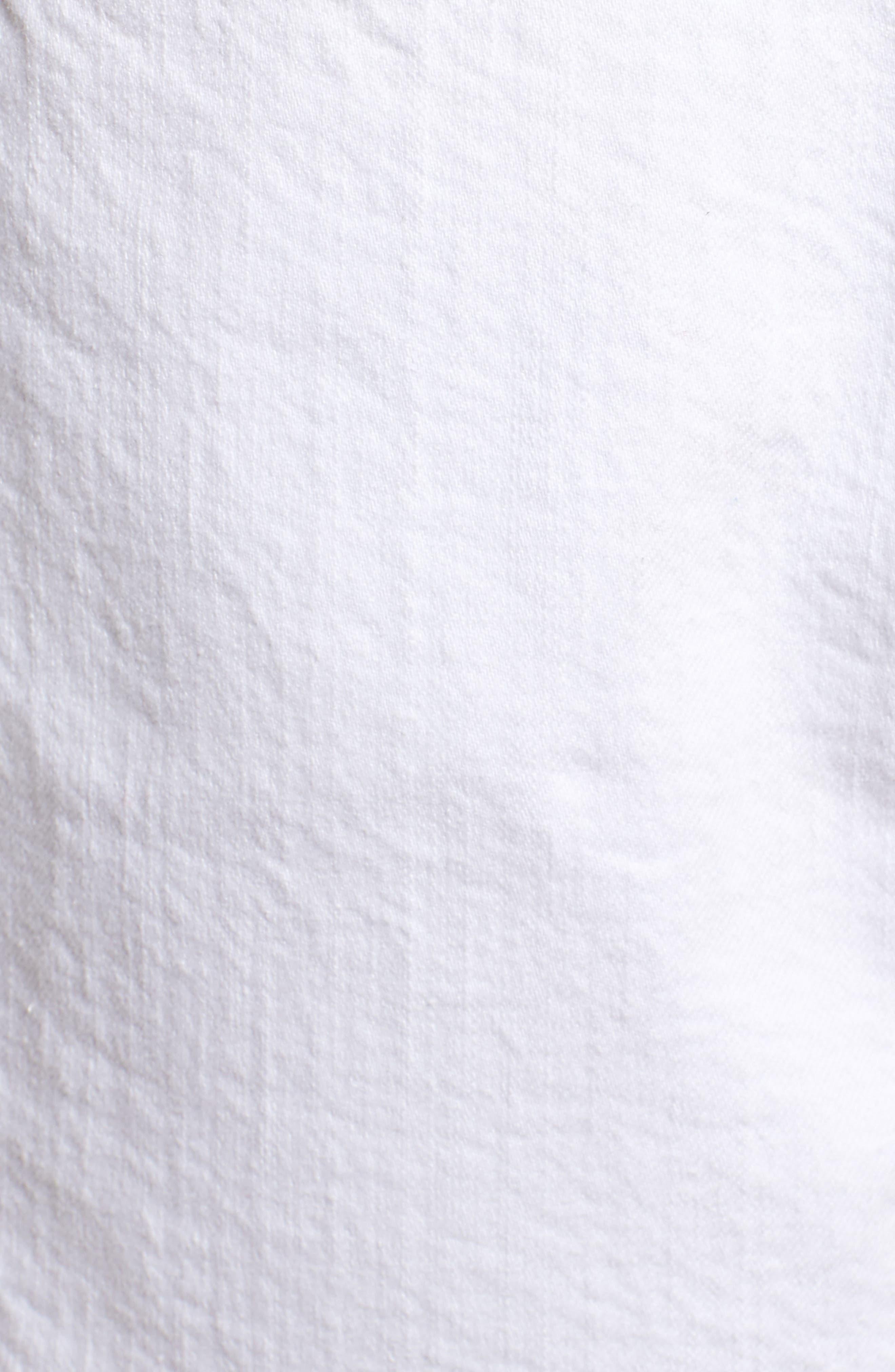 Step Hem Frayed Denim Shorts,                             Alternate thumbnail 6, color,                             Blanc