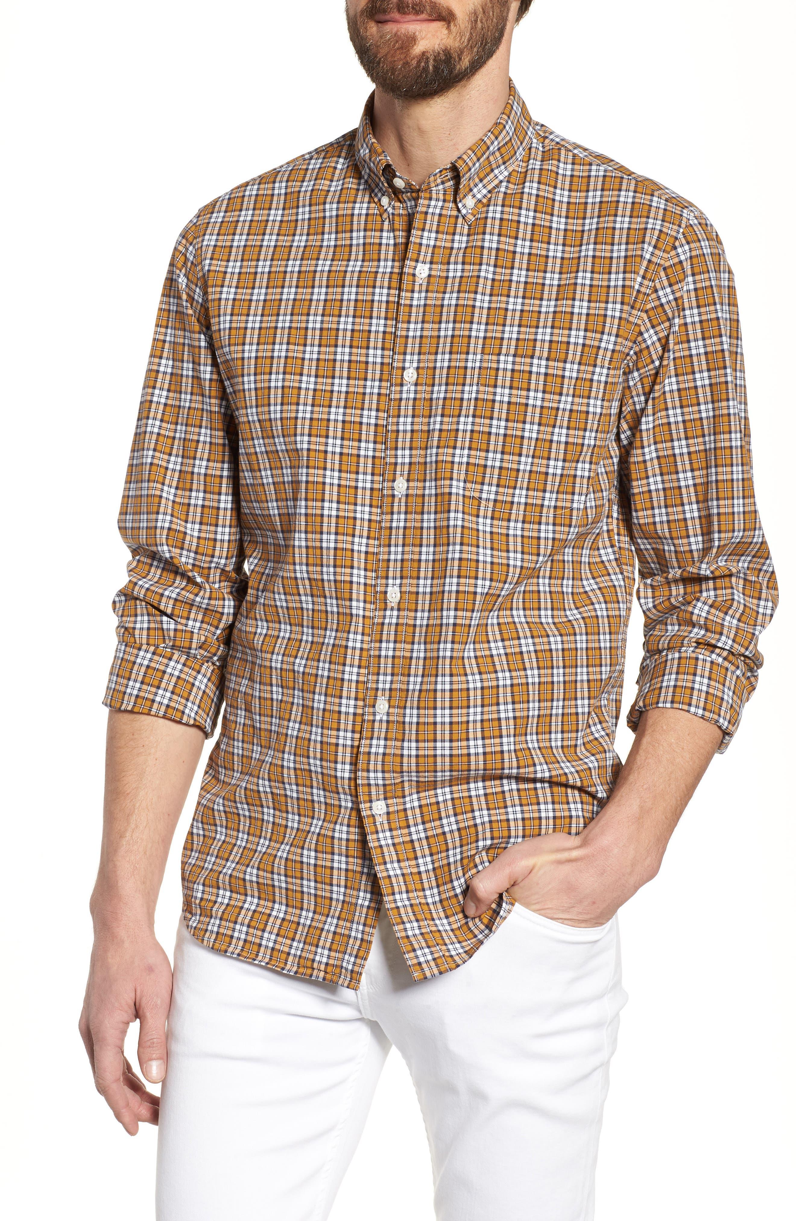 J.Crew Slim Fit Stretch Secret Wash Plaid Sport Shirt,                         Main,                         color, Warm Cider
