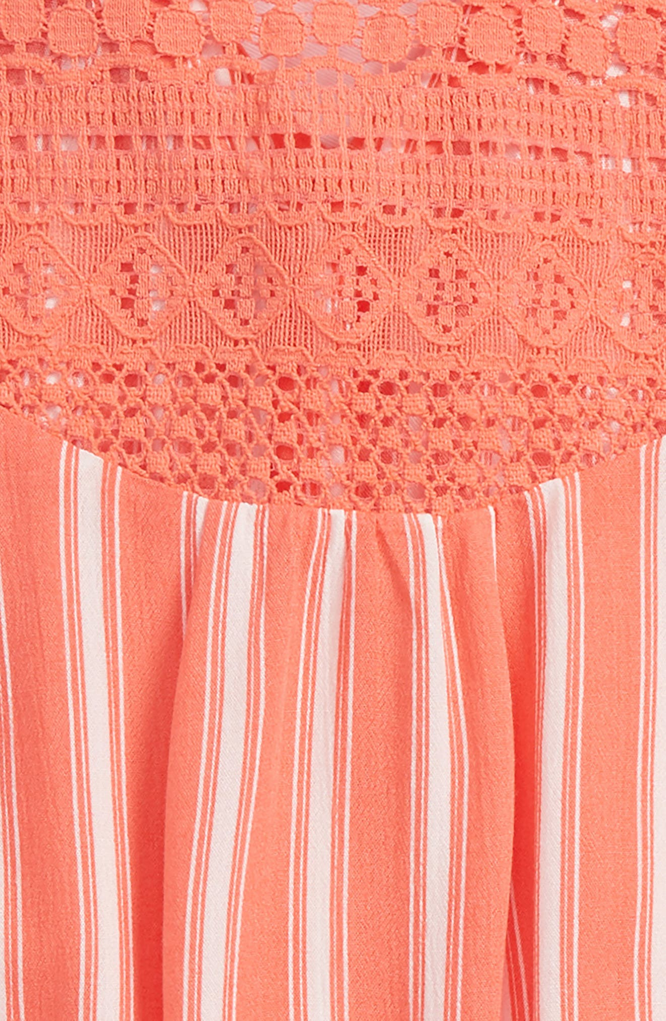 Stripe Tie Front Top,                             Alternate thumbnail 3, color,                             Coral/ Ivory