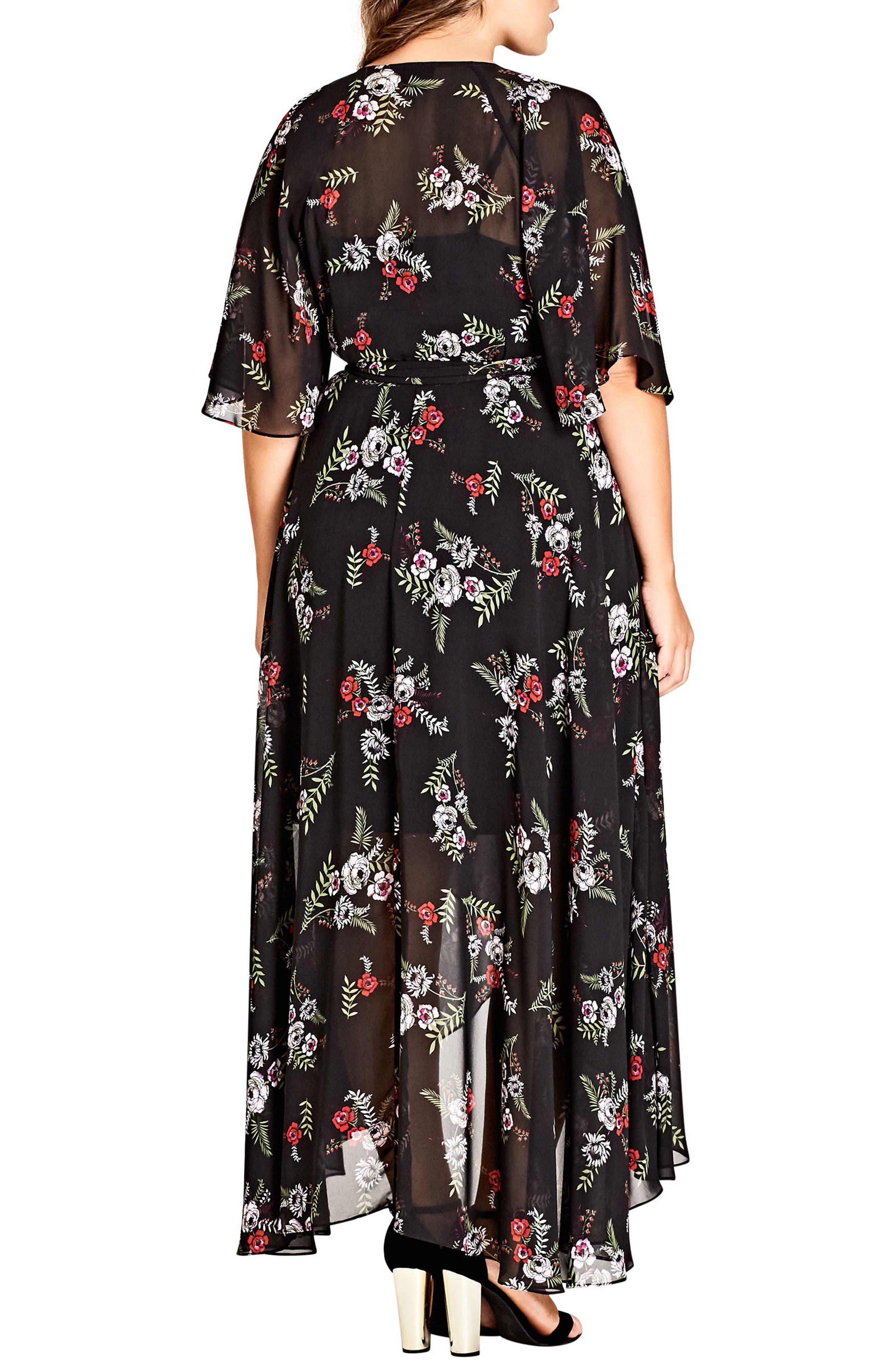 Floral Agave Wrap Dress,                             Alternate thumbnail 2, color,                             Agave Floral