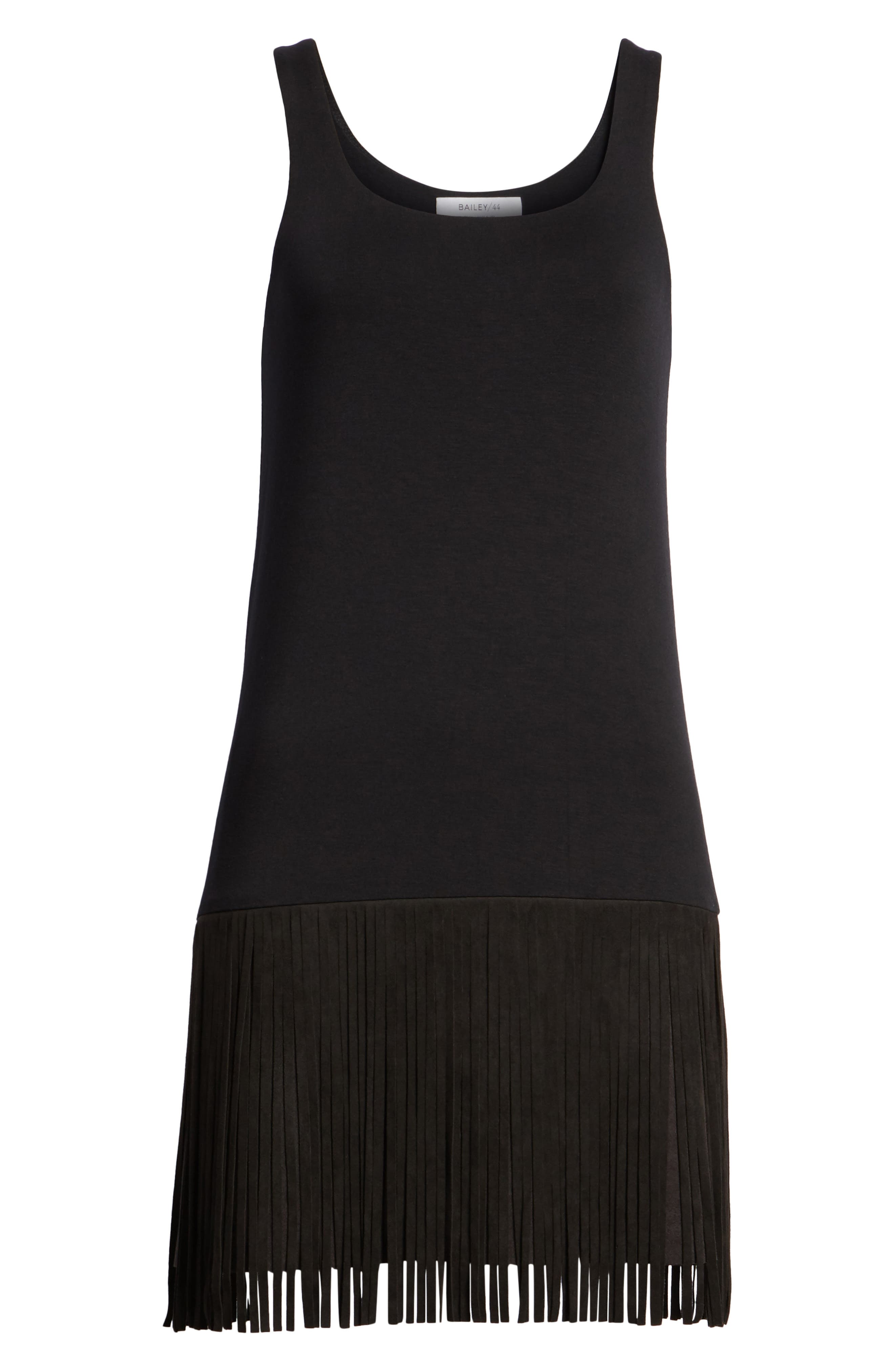 Dead or Alive Fringe Tank Dress,                             Alternate thumbnail 7, color,                             Black