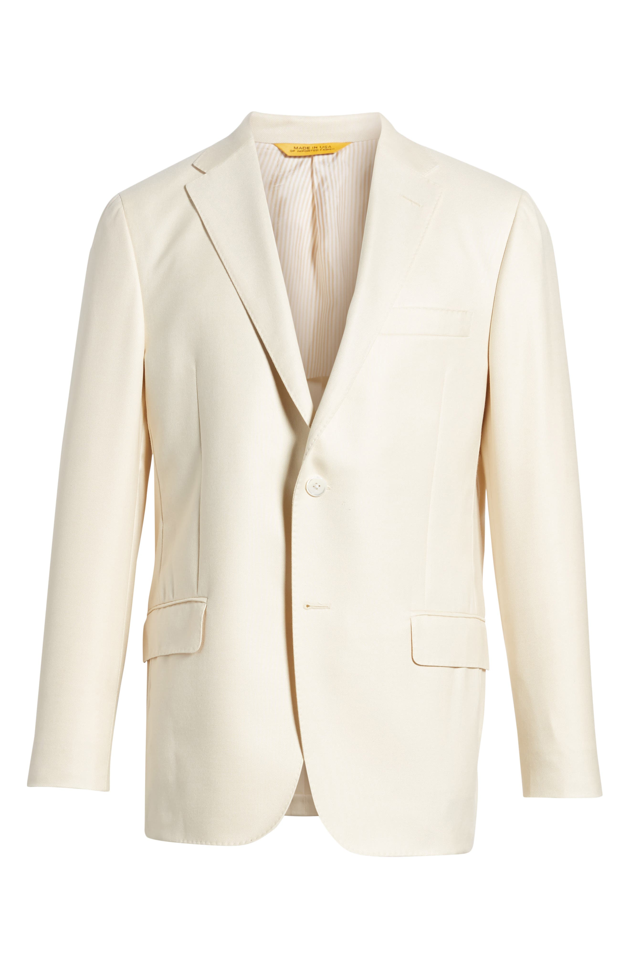 Classic B Fit Wool & Silk Blazer,                             Alternate thumbnail 6, color,                             Ivory Solid