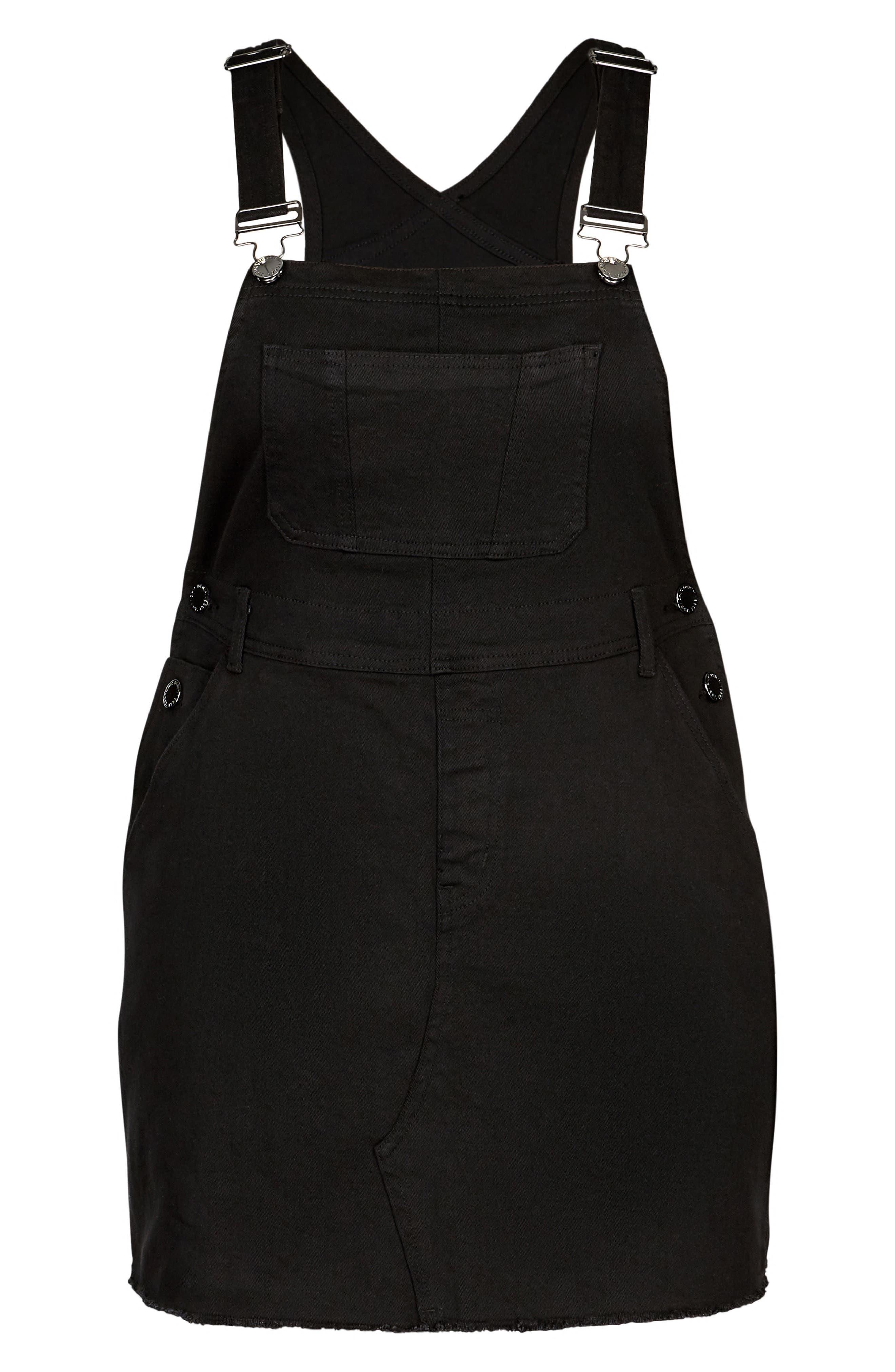 Denim Overall Dress,                             Alternate thumbnail 3, color,                             Black