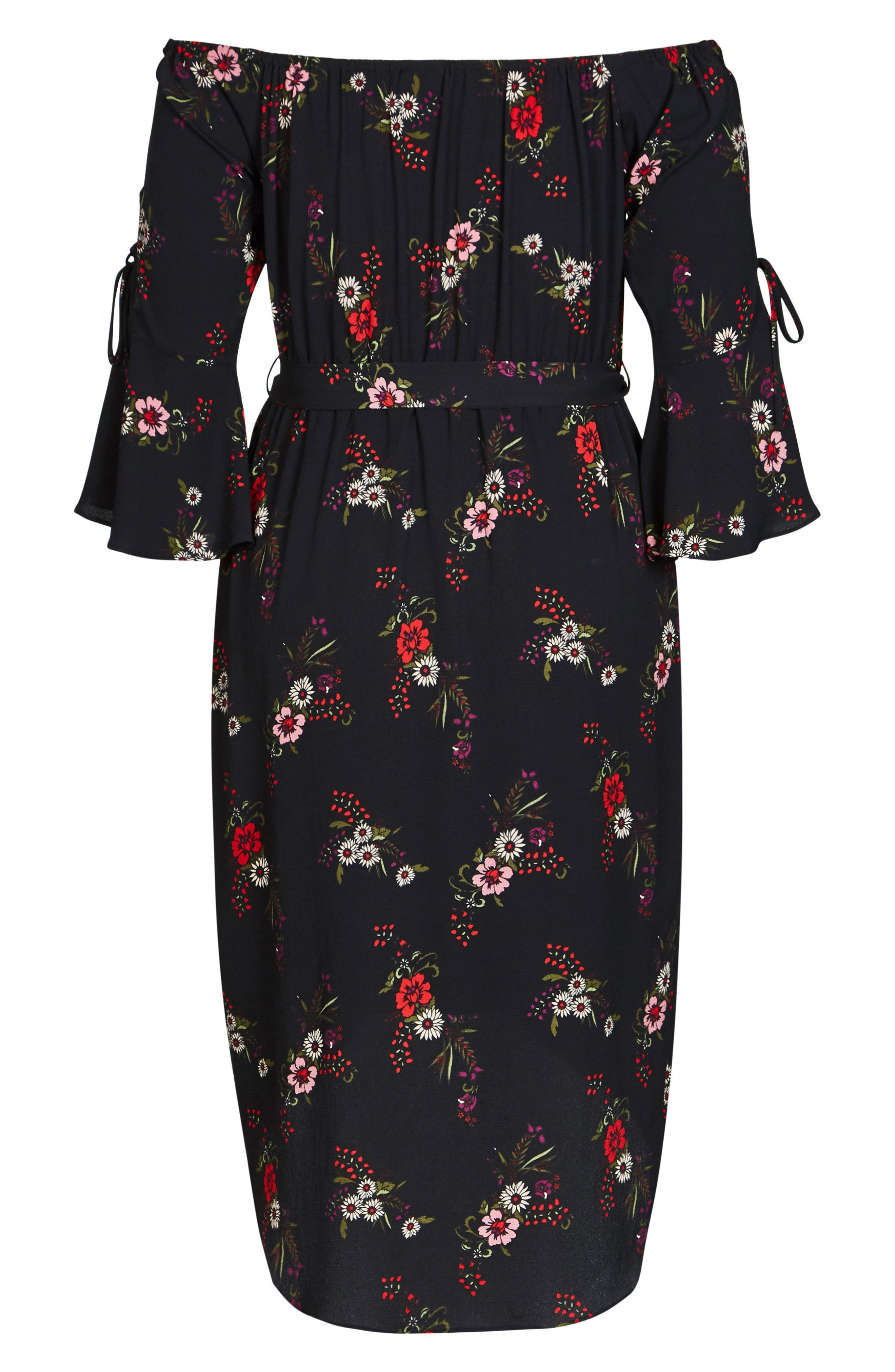 Off the Shoulder Midi Dress,                             Alternate thumbnail 4, color,                             Skye Floral