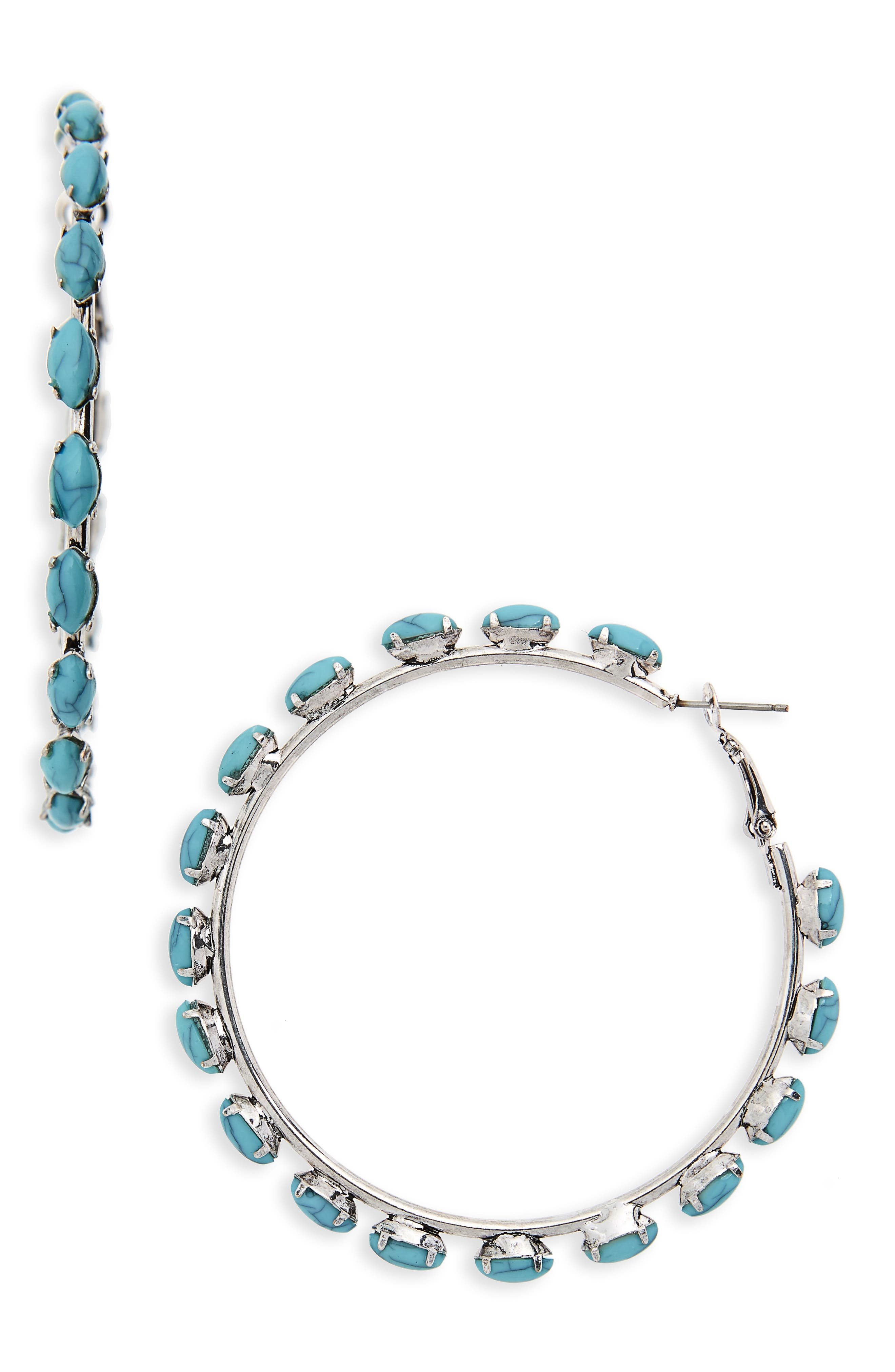 Bead Edge Hoop Earrings,                             Main thumbnail 1, color,                             Silver/ Turquoise