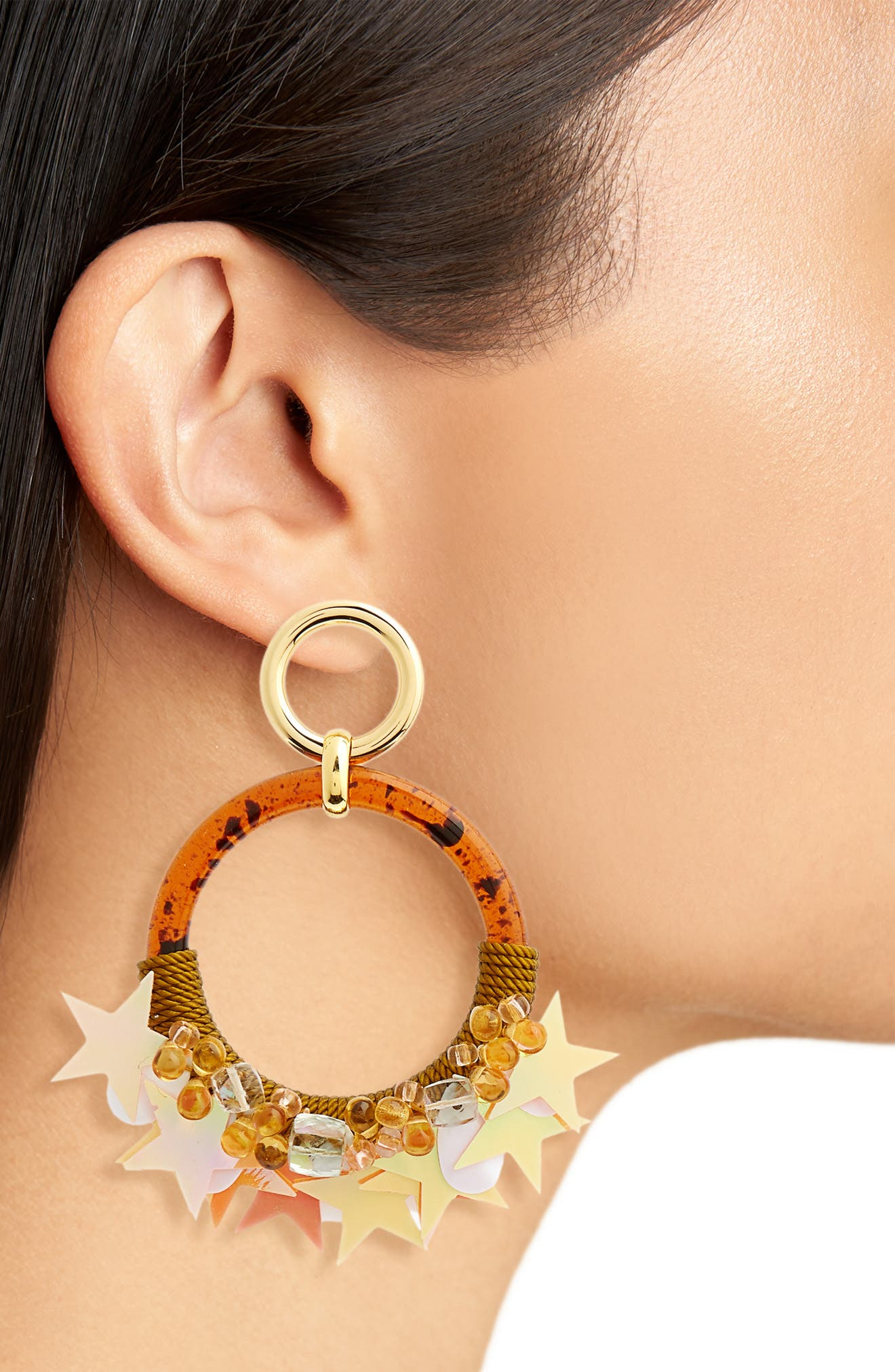 Starry Night Earrings,                             Alternate thumbnail 2, color,                             Brown Multi