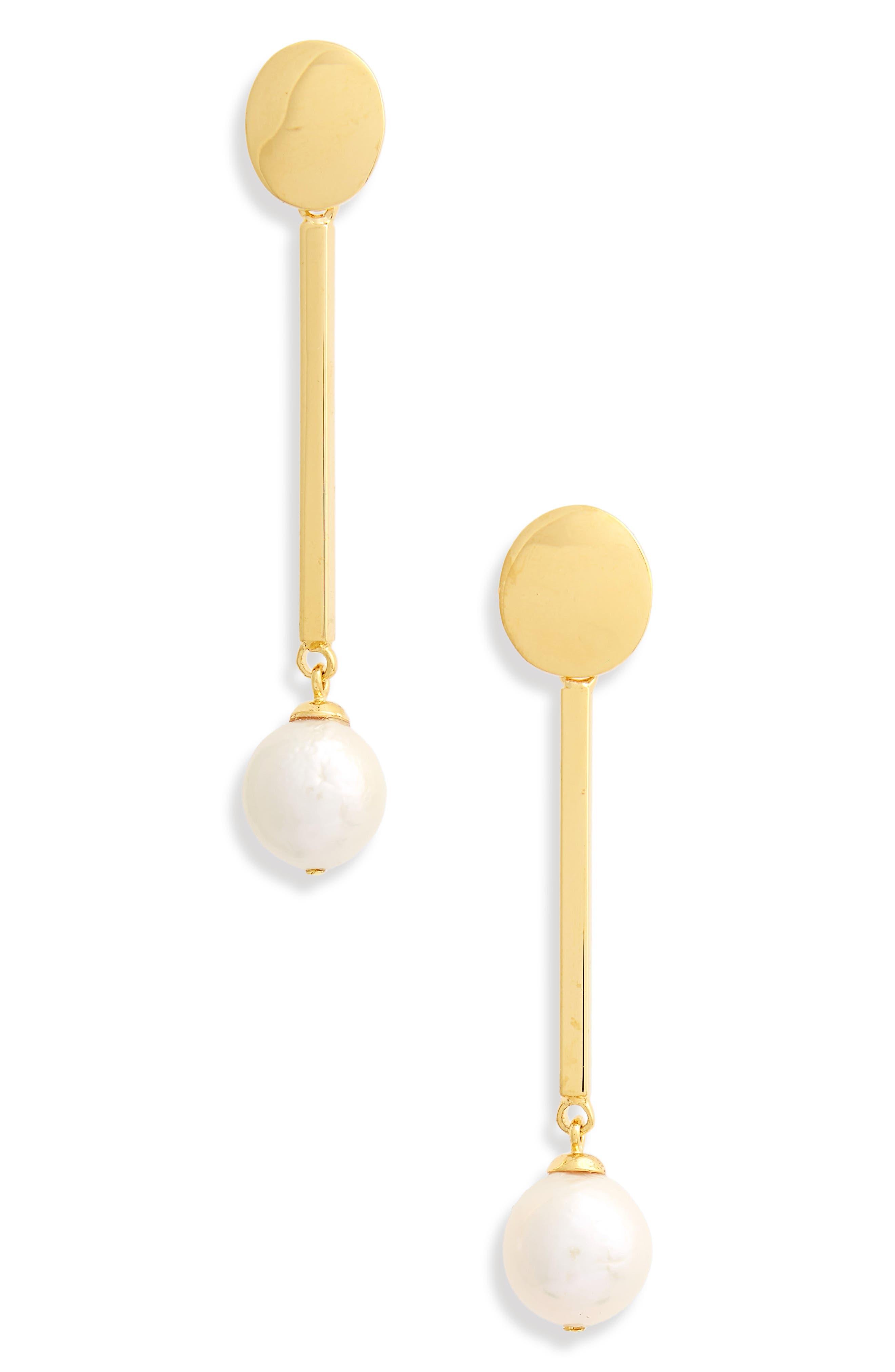 Moonbeam Pearl Earrings,                             Main thumbnail 1, color,                             Gold Multi