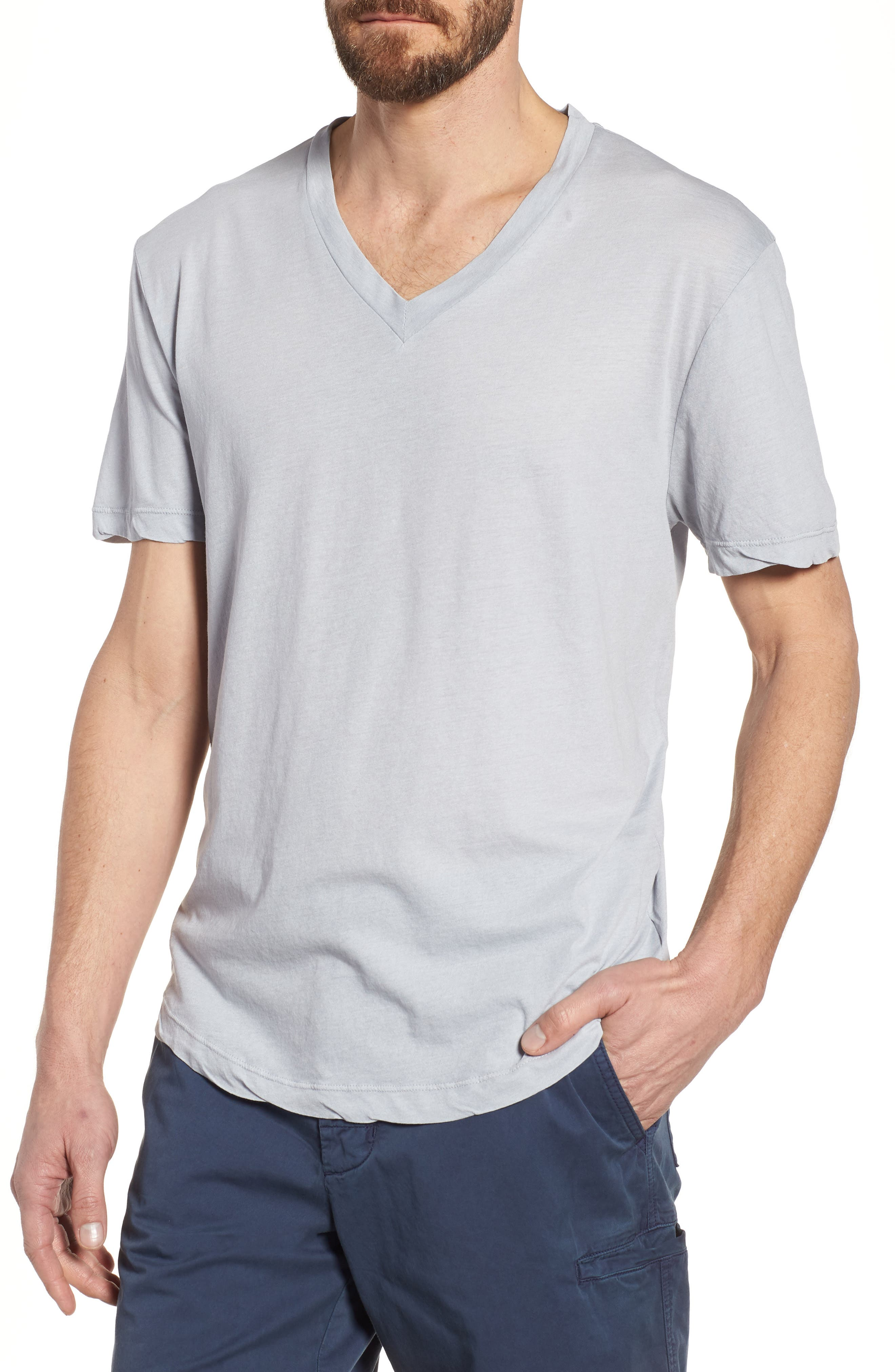 'Clear Jersey' Mélange V-Neck T-Shirt,                         Main,                         color, Blue