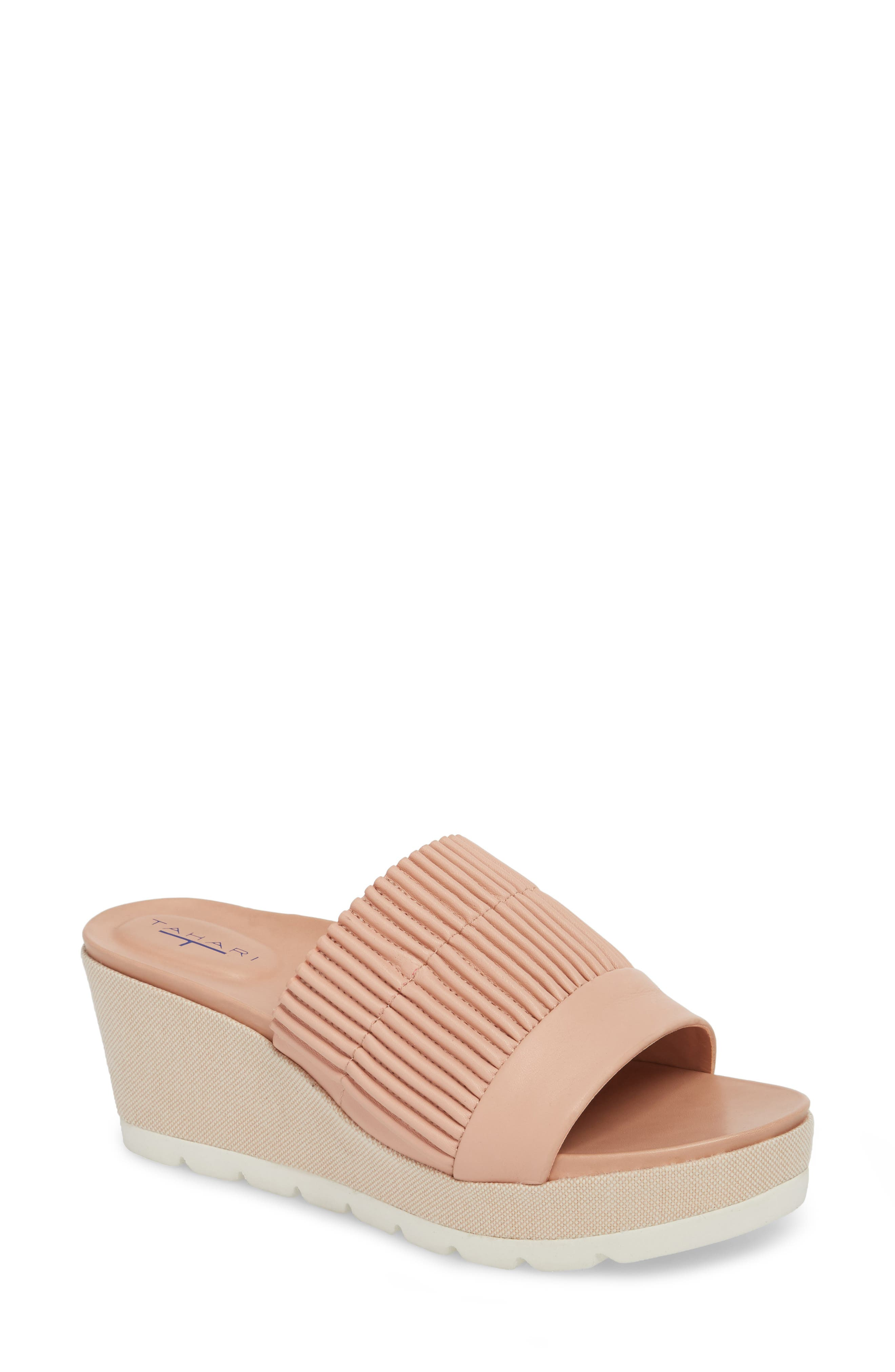 Gwen Wedge Mule,                         Main,                         color, Blush Leather