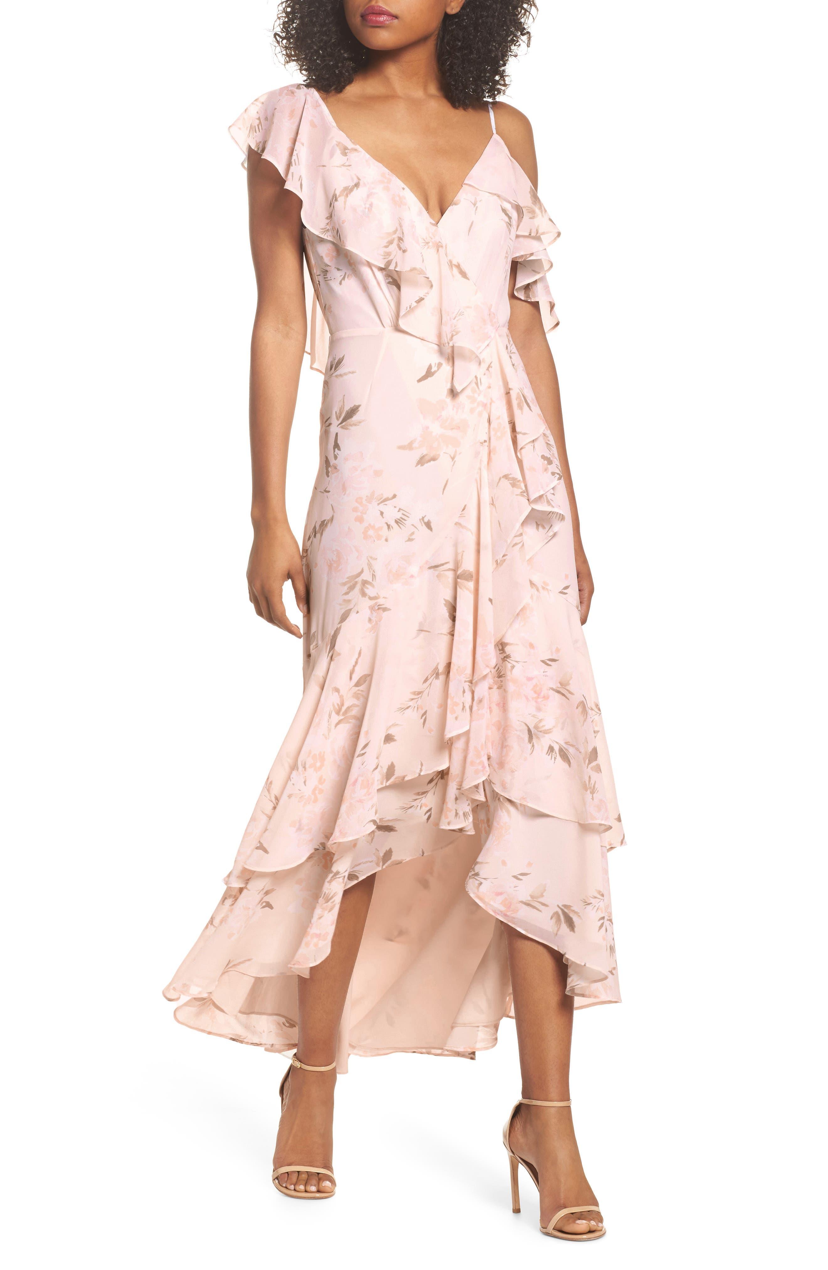 Elanor Ruffle Faux Wrap Maxi Dress,                         Main,                         color, Blush Bouquet