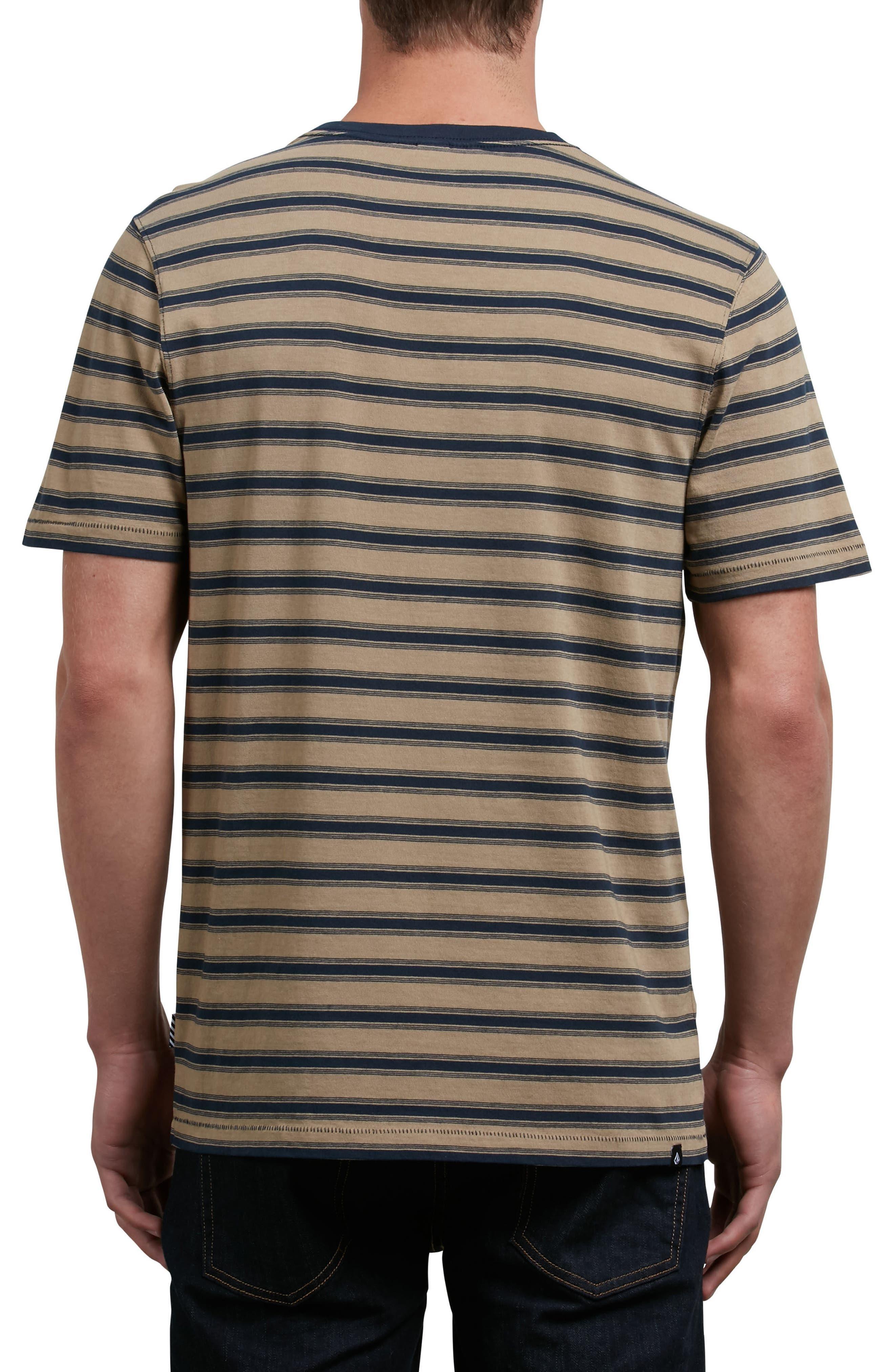 Briggs Stripe Crewneck T-Shirt,                             Alternate thumbnail 2, color,                             Brown Sand