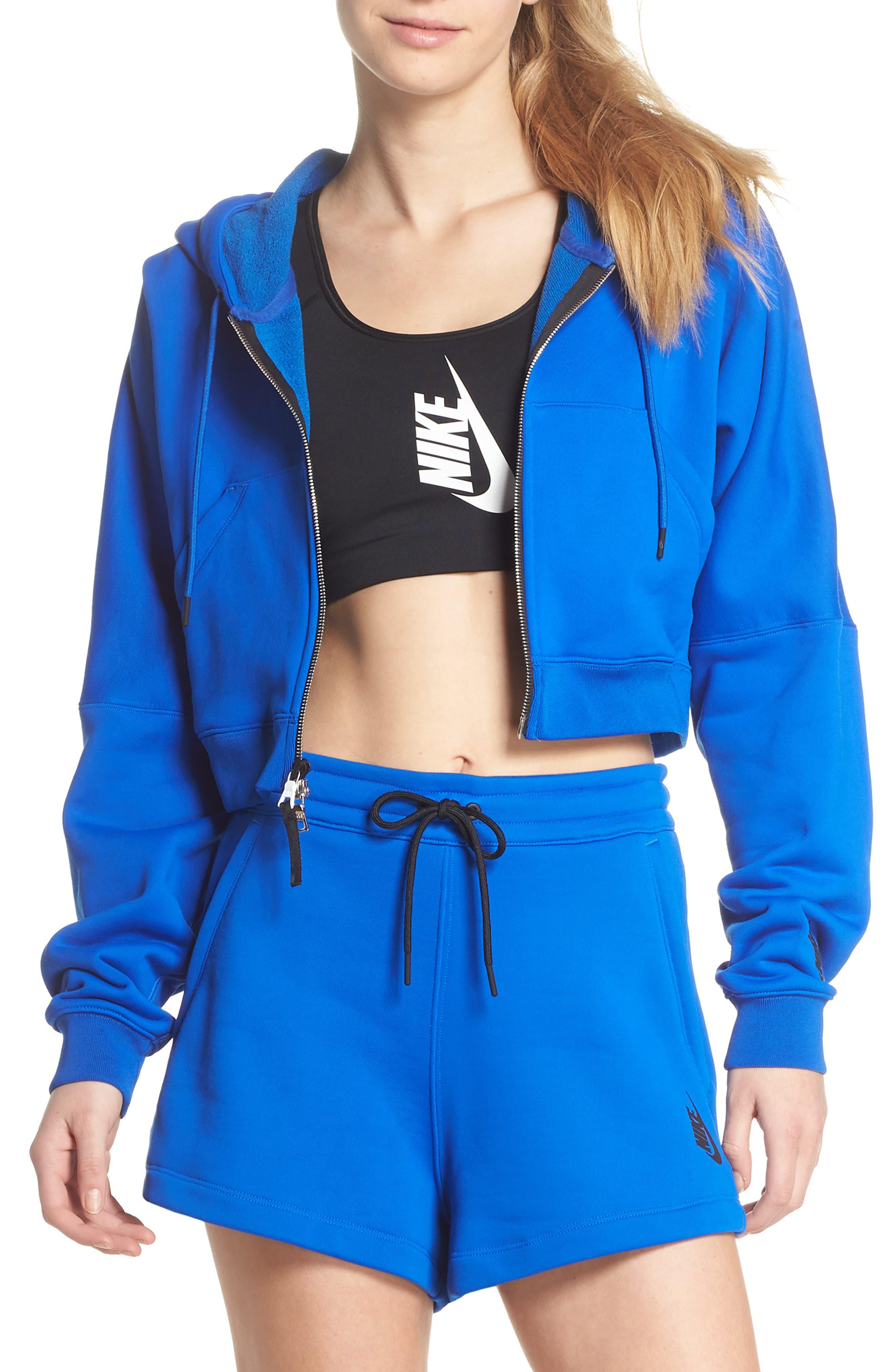 NikeLab Collection Terry Zip Hoodie,                         Main,                         color, Hyper Cobalt/ Black