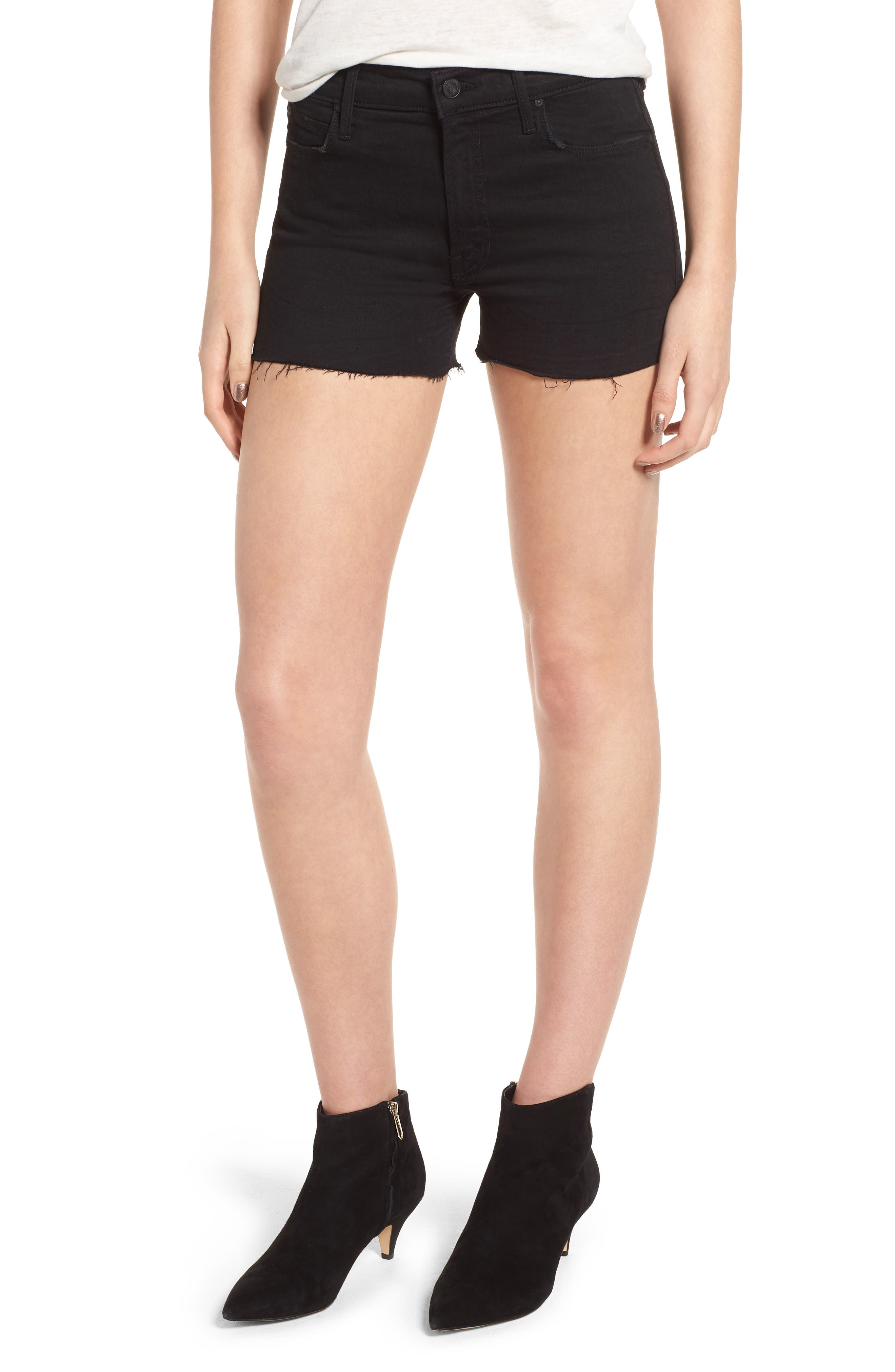 Main Image - MOTHER The Charmer Fray Denim Shorts (Not Guilty)
