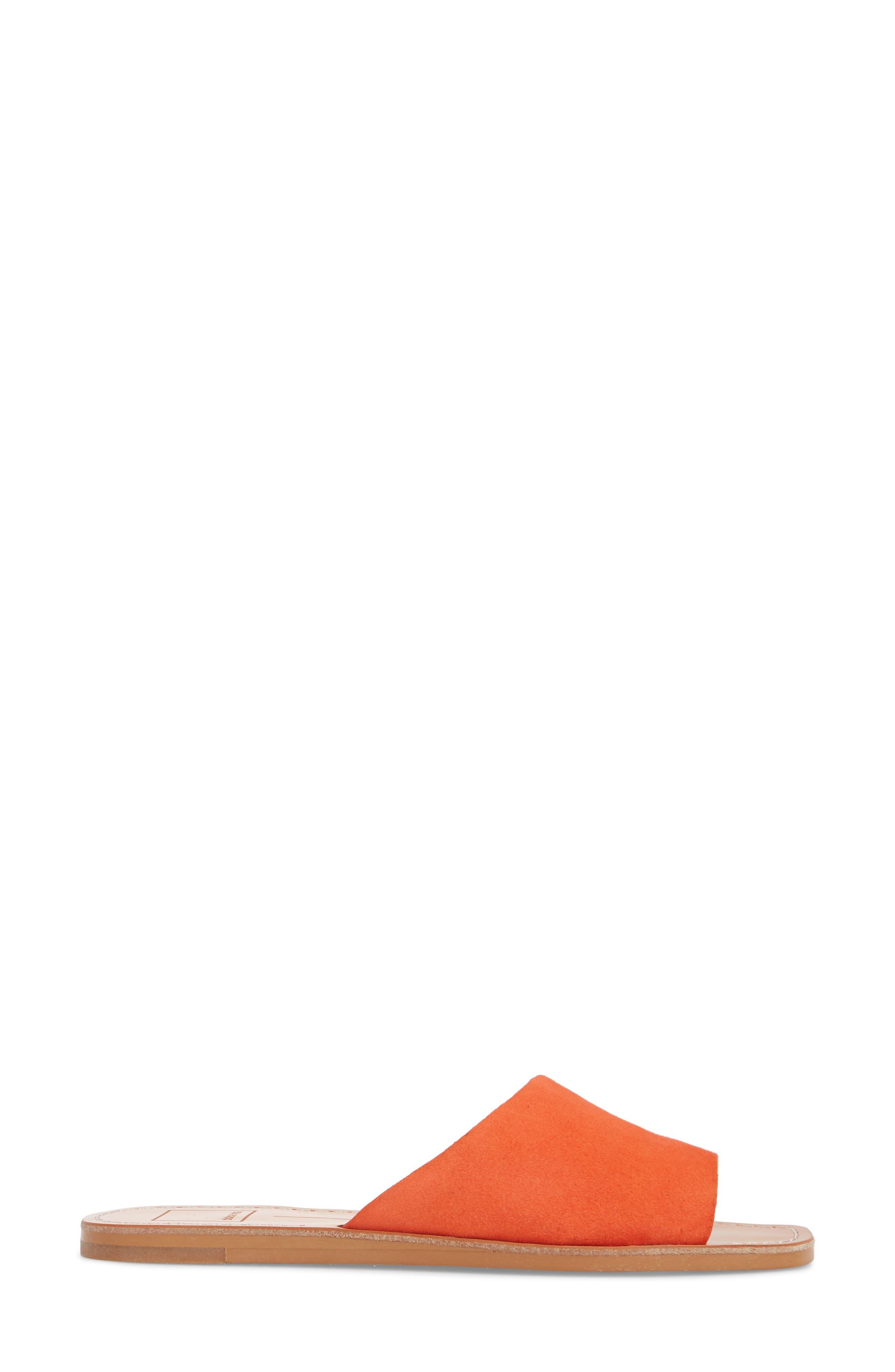 Cato Asymmetrical Slide Sandal,                             Alternate thumbnail 3, color,                             Orange Suede
